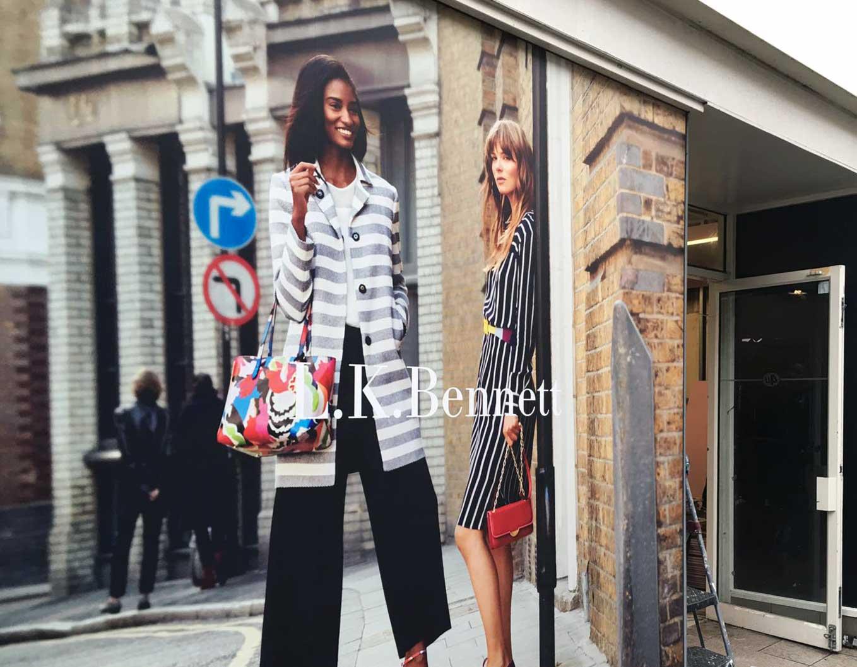 printed LK Bennett shop front window