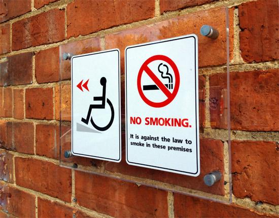 satin aluminium wall mounts no smoking sign
