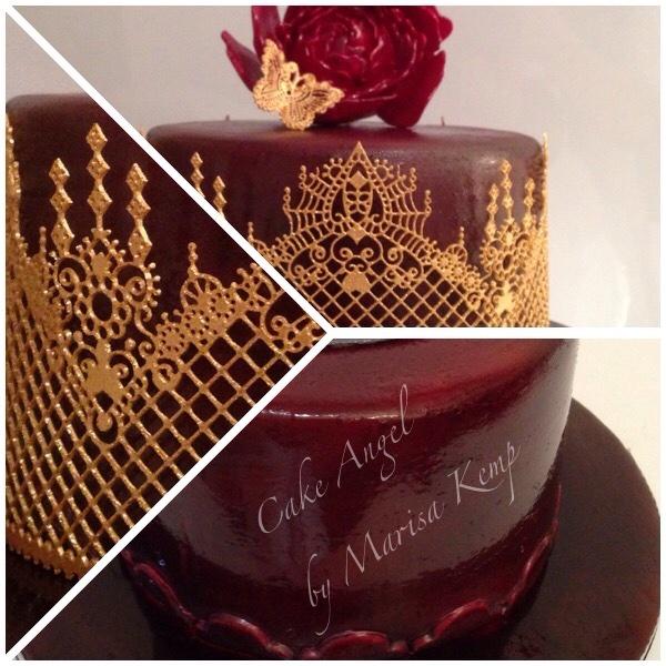 Chocolate ganache sponge with gold decoration