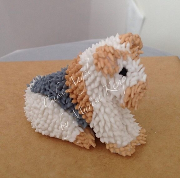 Royal icing terrier topper