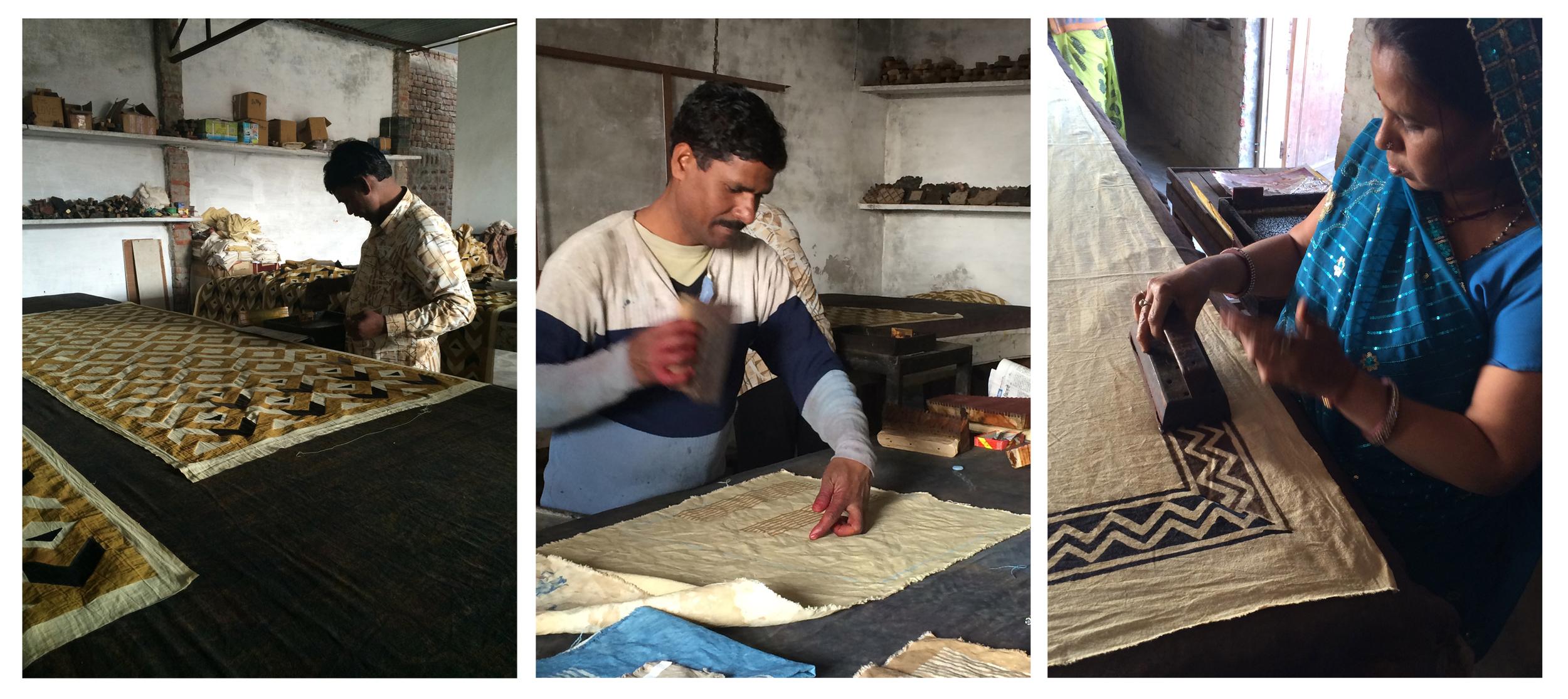 Watching the wood block printing process at Bagru Textiles.