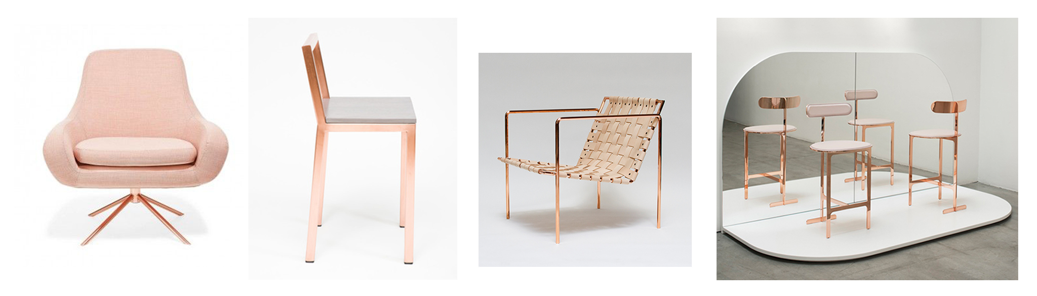 From left to right: Softline Apricot swivel curved chair $1700; Assembly design Copper slight chair; Eric Trine Rod&Weave chair; Yabu Pushelberg Avenue Road chair collection