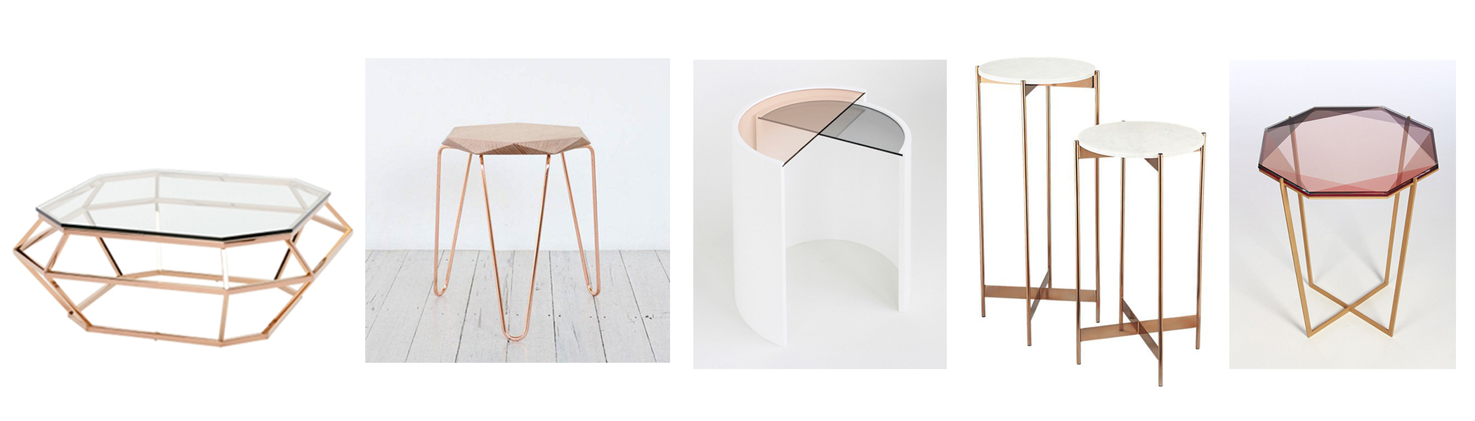 Nuevo Modern Furniture Diamond sq coffee table $1450; Klein Gem stool $275; Bower contour side table; CB2 Marble rose gold cocktail tables $179; Gem coffee table