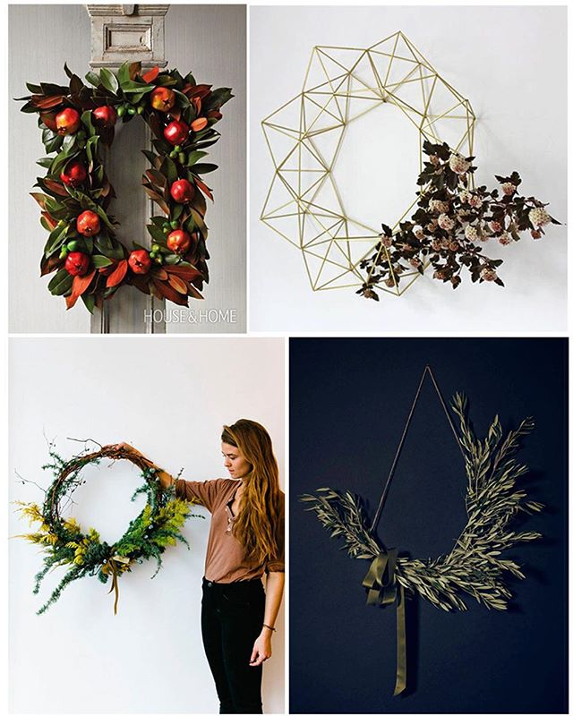Nontraditional Wreaths...YES Please!!! Check out more Hospitality Holiday Decorating ideas on our blog. Now live. #holiday #cheer #hospitality #decoration #decor #wreath #tree #lights #christmas #design #wegotyou #blog #newblog