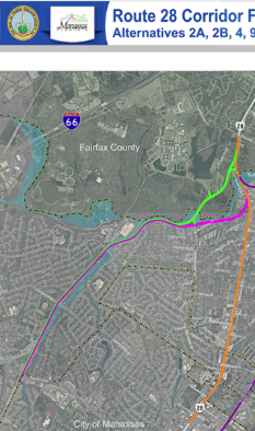 Godwin Dr Alternatives shown in purple and green, existing 28 shown in orange