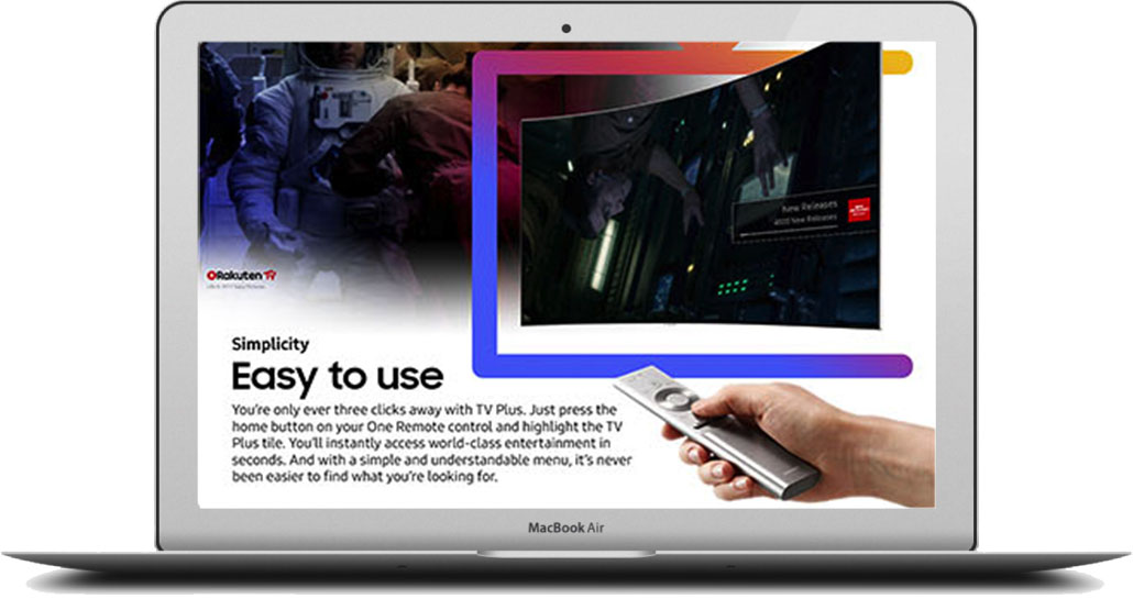 - On both pages, TV channels changed, animated characters moved and text came to life,displaying the benefits of Samsung's latest innovations.Use the password 'helloworld' to take a look at the fully animated site below.