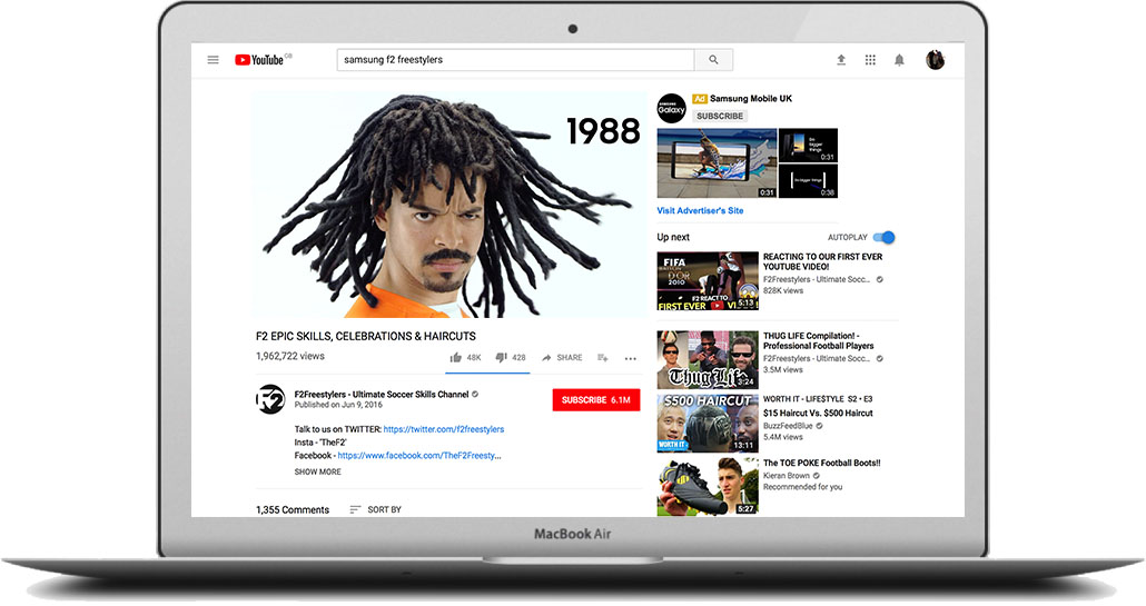 - Our Europe-wide,'gorilla'social campaign gave a nod to how far football and TV technology have come by going down memory lane with two Youtube superstars.