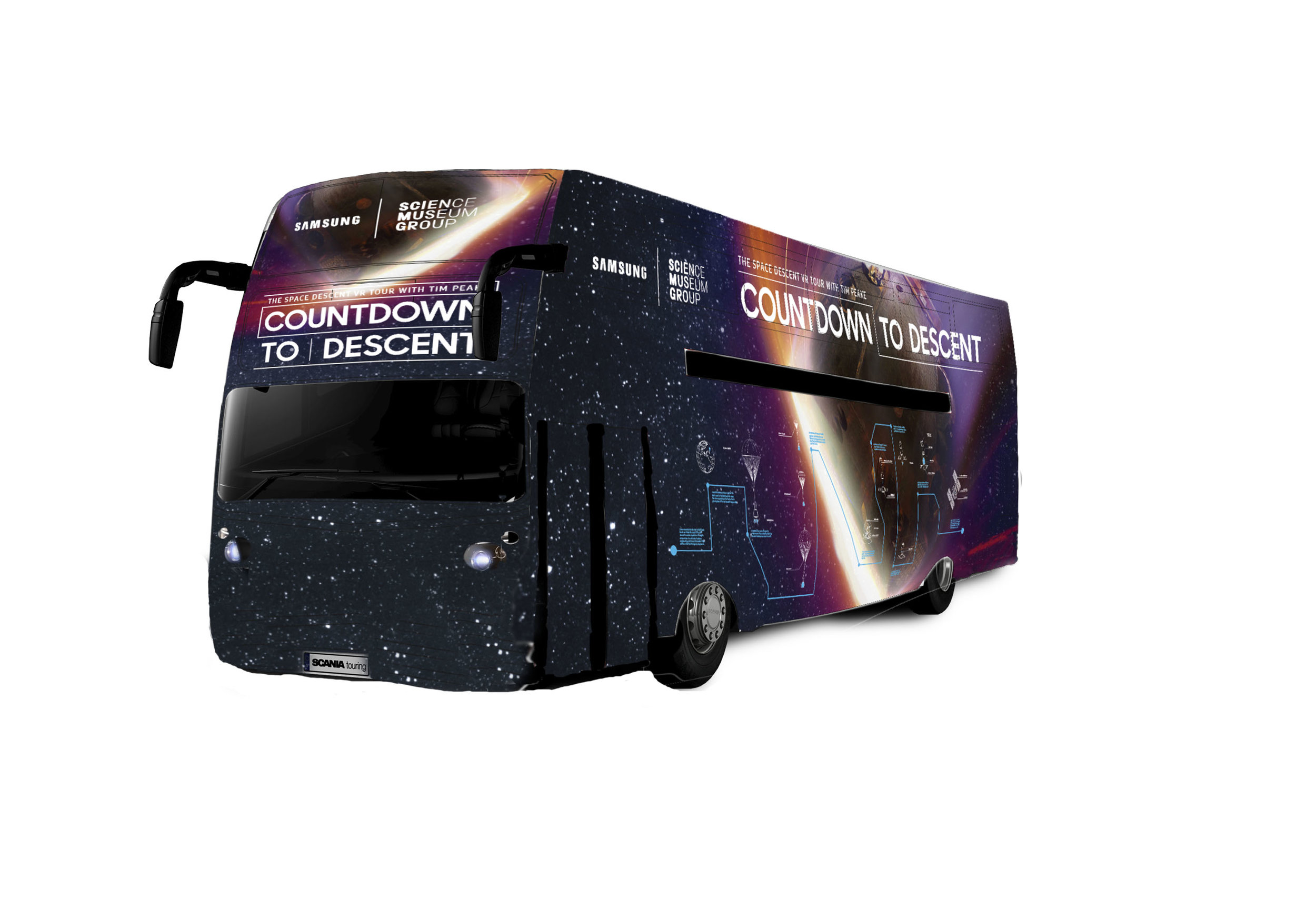 - Samsung wanted a way to highlight their partnership with the Science Museum. So we created Countdown To Descent. The travelling bus tour went across the country. With the help of the Gear VR,It allowed thousands of kids to experience astronaut Tim Peake's journey to earth.