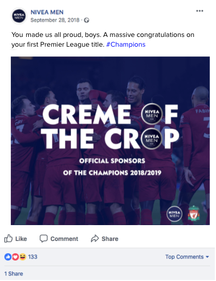 - So we all know that Liverpool finished second in the Premier League in 2019. But at one point, it was a real prospect that they'd bring home the silverware. I art directed, scamped, wrote and produced concepts for if they won they would sit across NIVEA MEN's social channels.