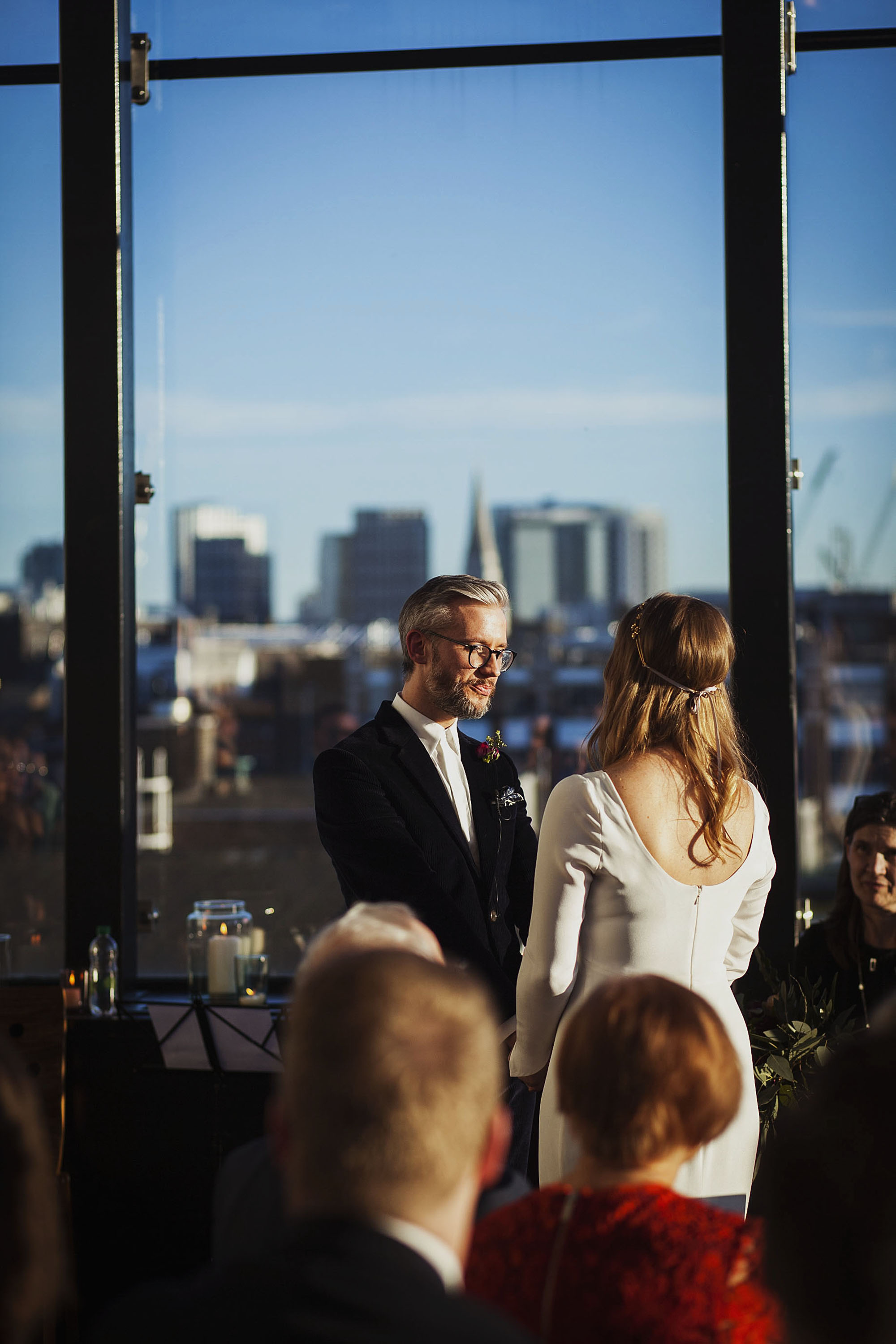 bride and groom getting married at the ace hotel london