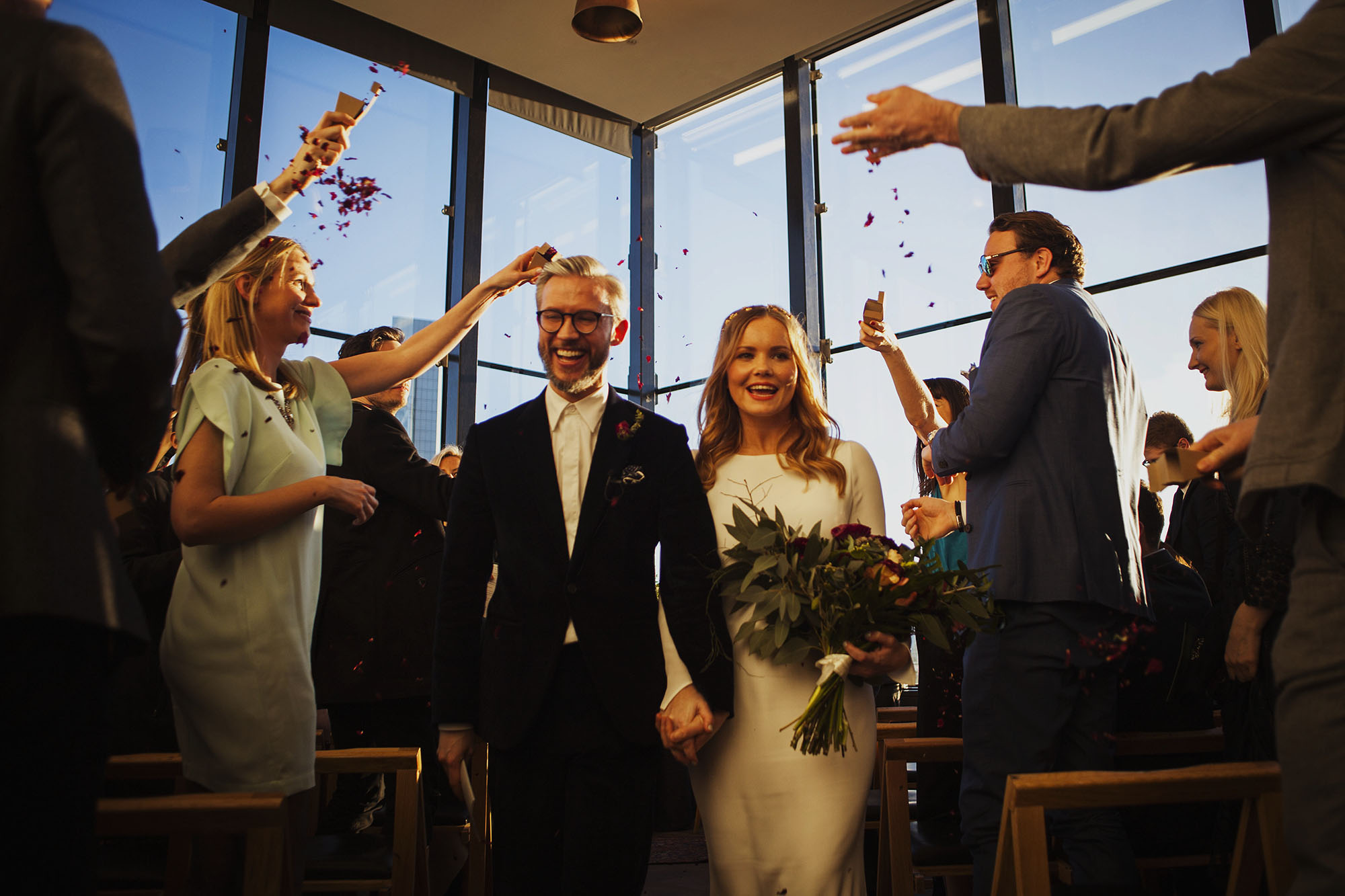 bride and groom confetti photograph at the ace hotel london