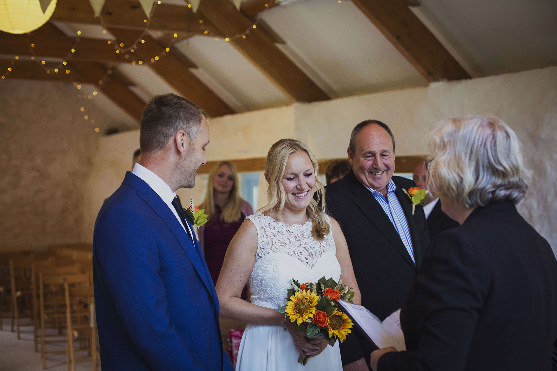 bride and groom and bride's father at nantwen