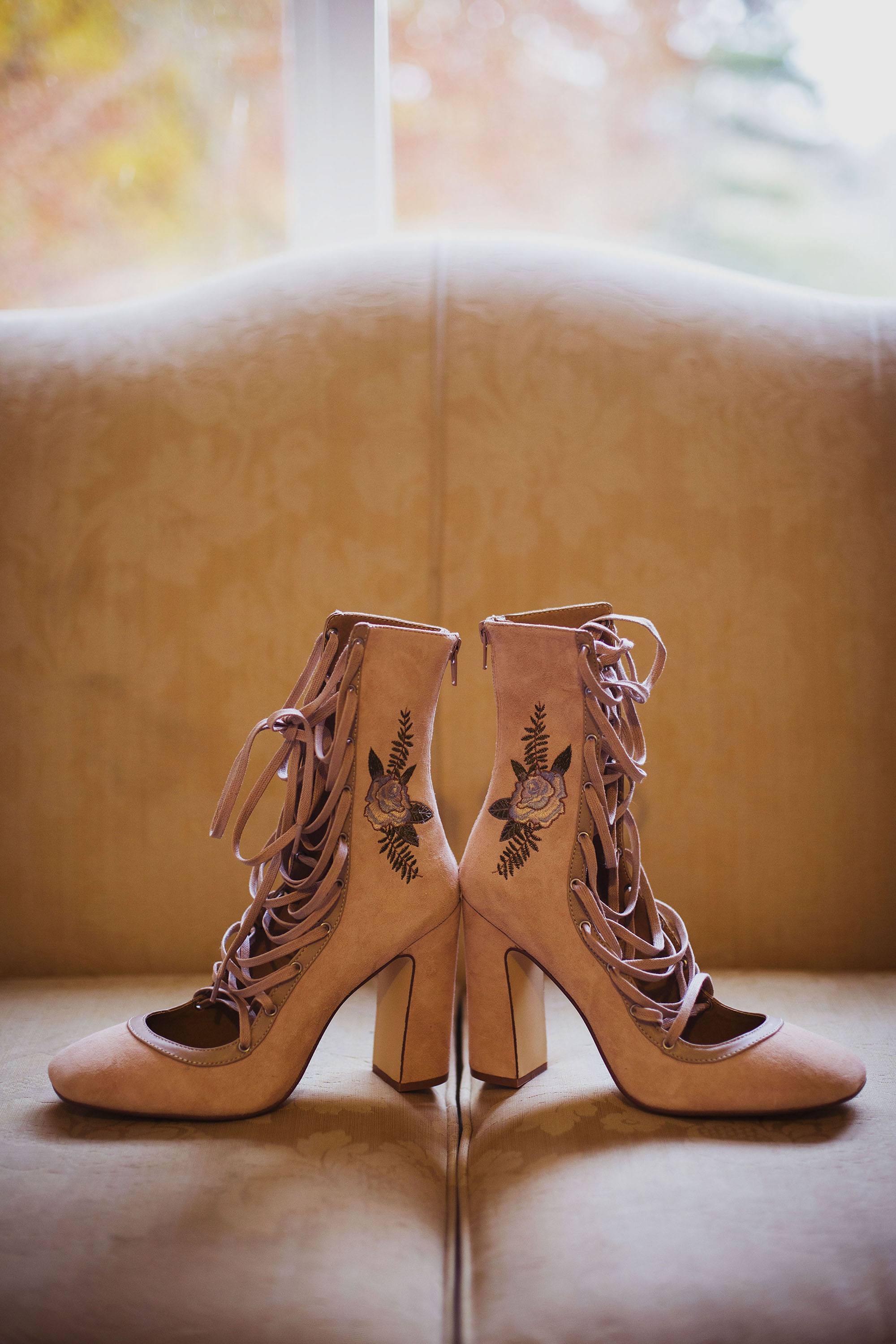 bride's shoes at grasmere house hotel