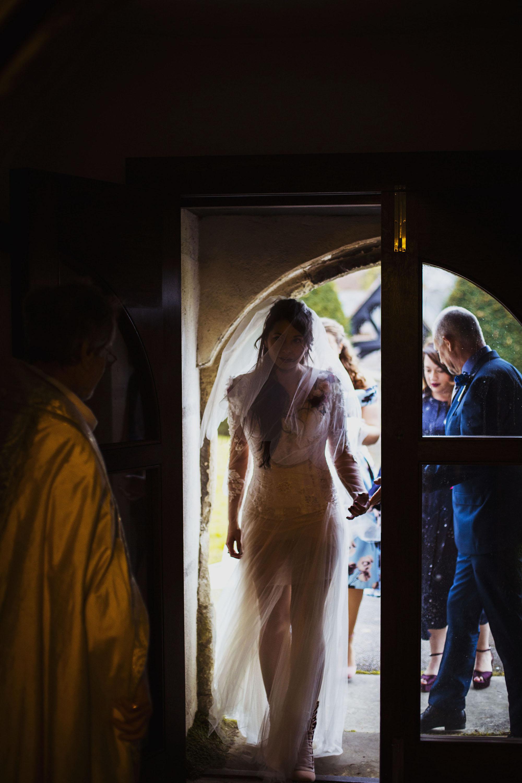 bride at doorway at st laurence church