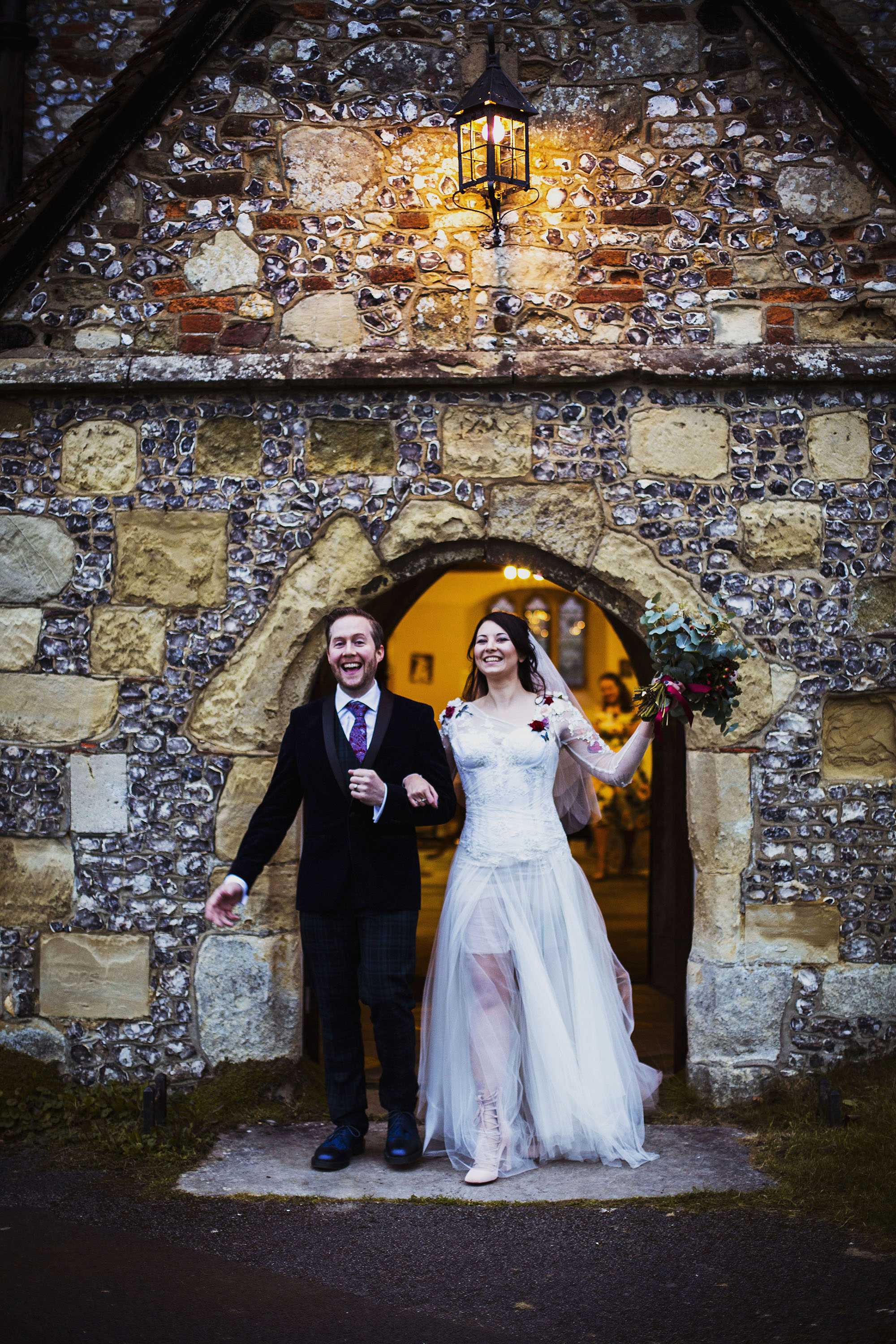 bride and groom just married at st laurence church