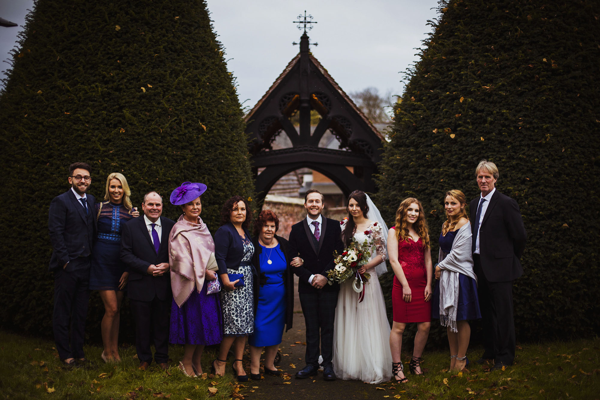 bride and groom with bride's mother's family
