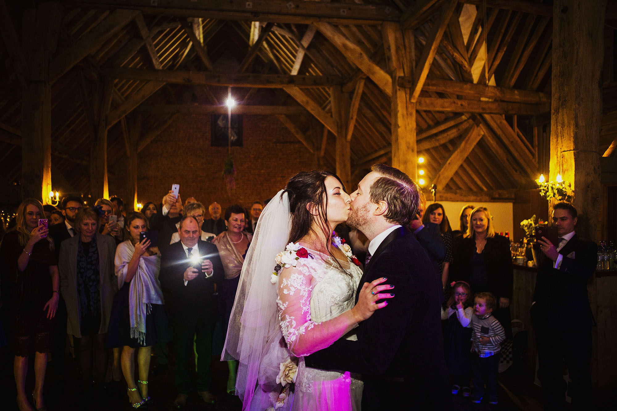 bride and groom first dance at barford park wedding venue in wiltshire