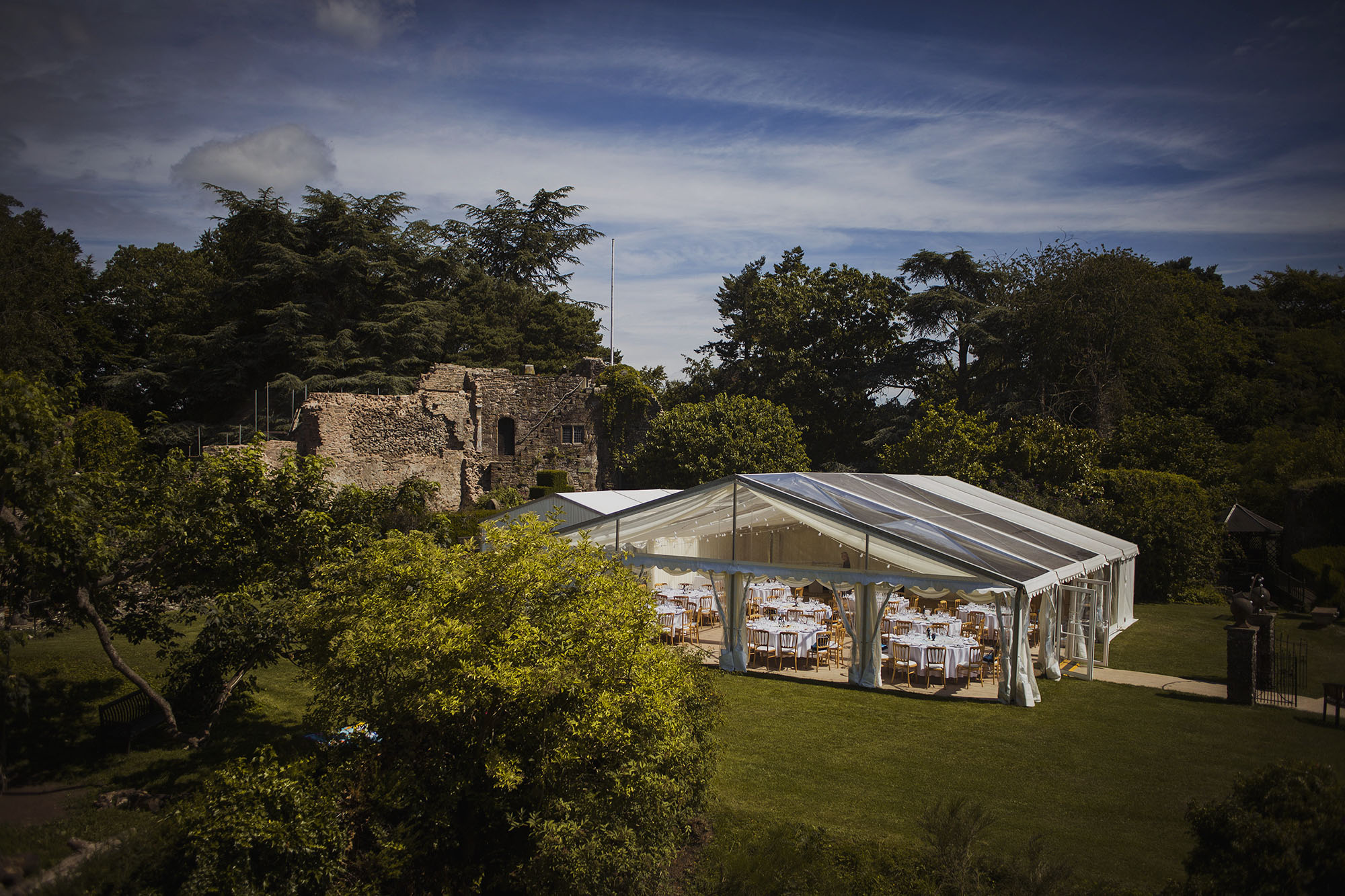 usk castle view from tower with county marquee