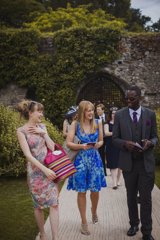 wedding guests arriving at usk castle