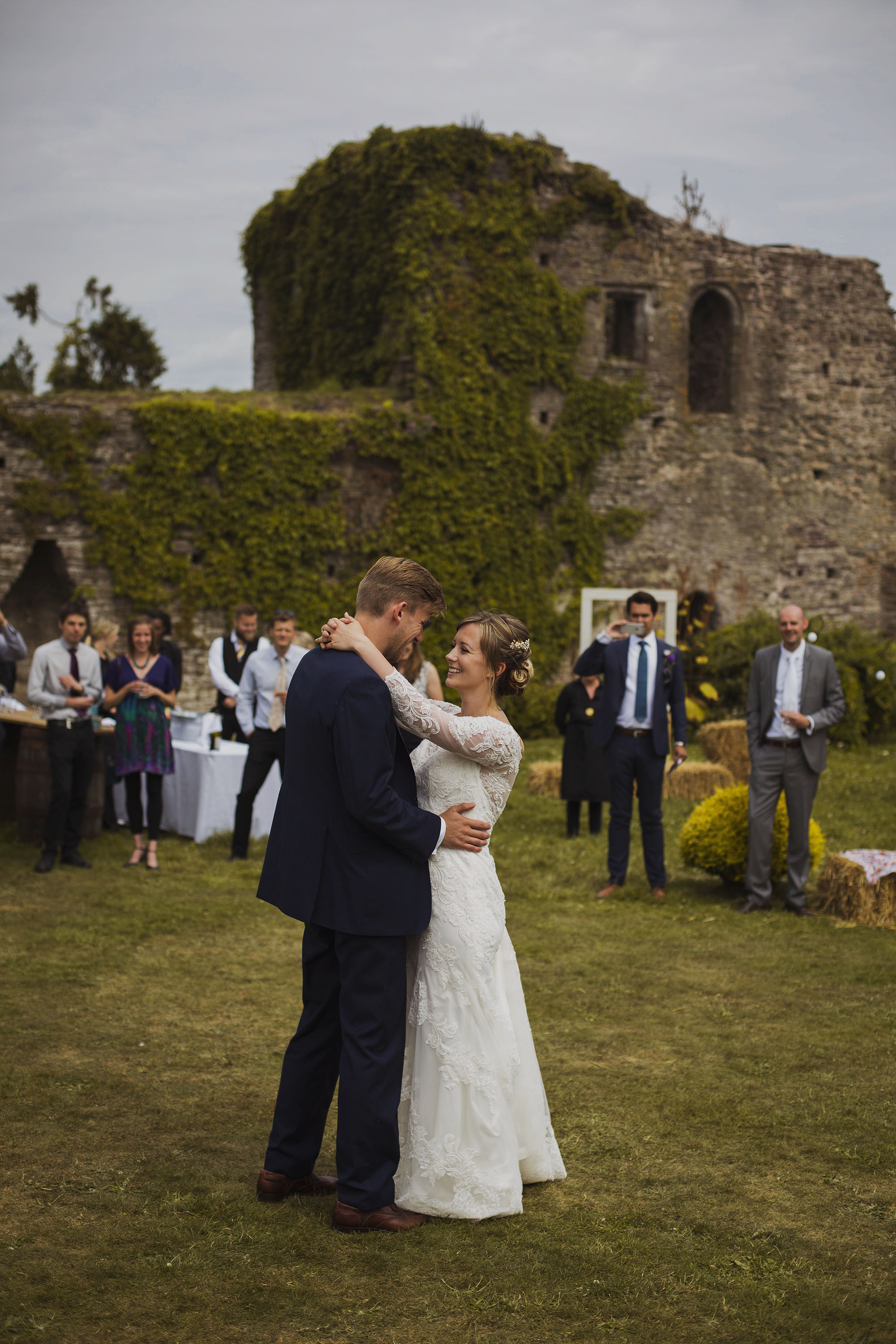bride and groom first dance at usk castle