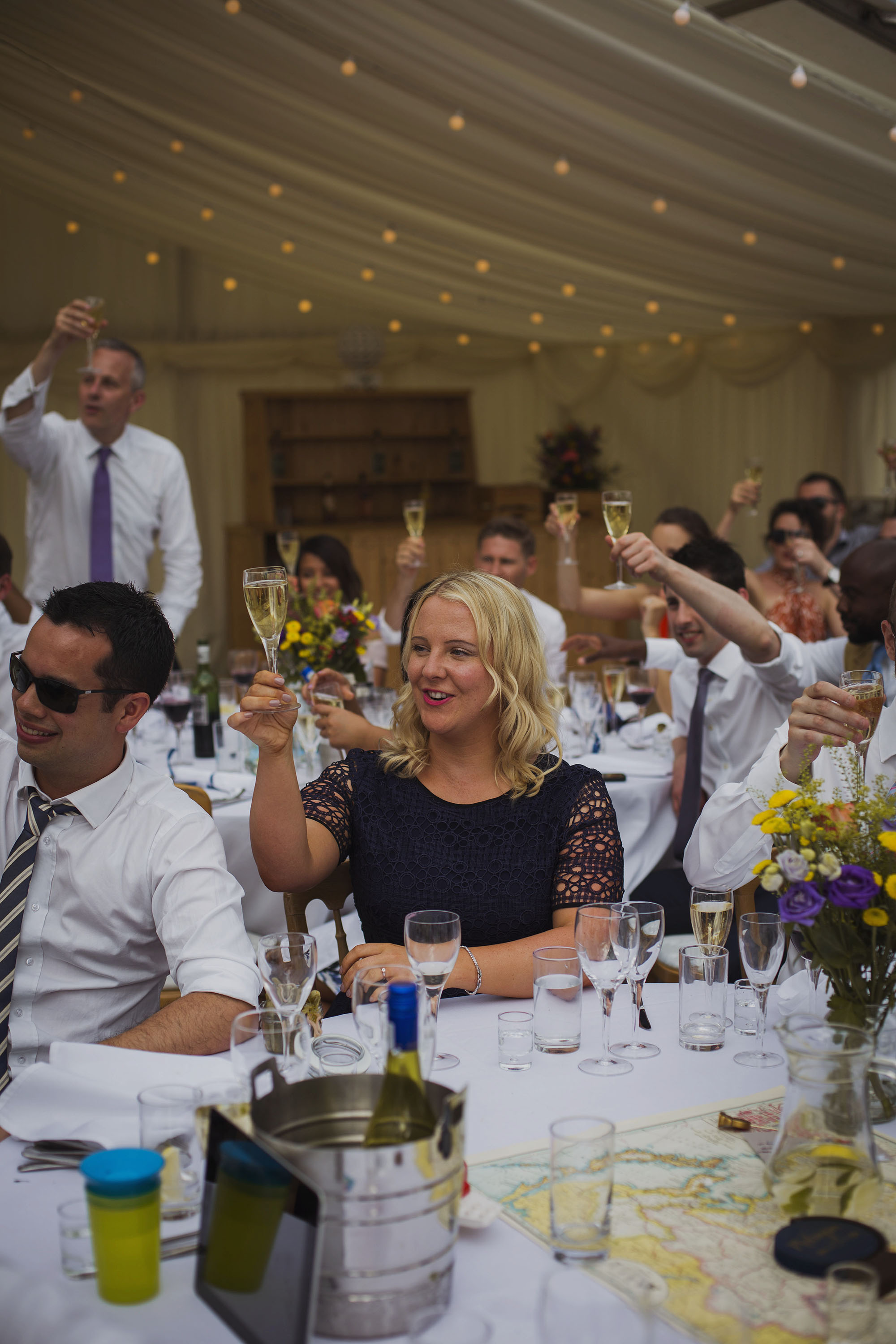 guests toasting at wedding breakfast at usk castle