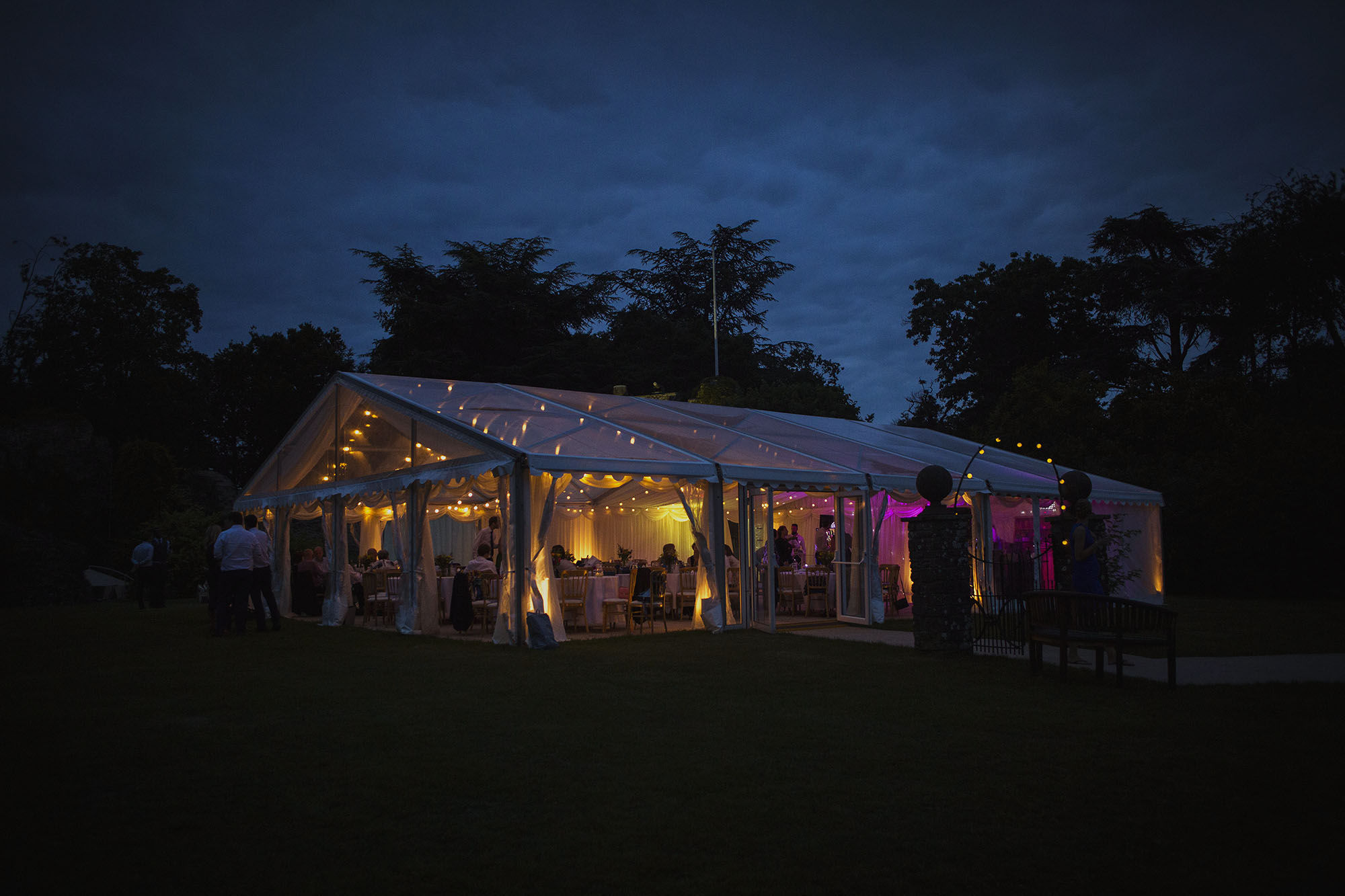 county marquee at dusk at usk castle