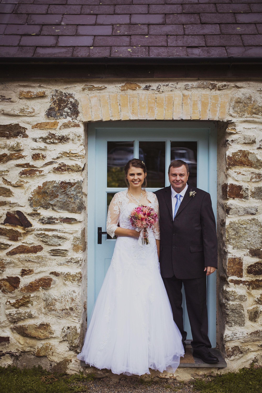 bride and father at nantwen wedding venue