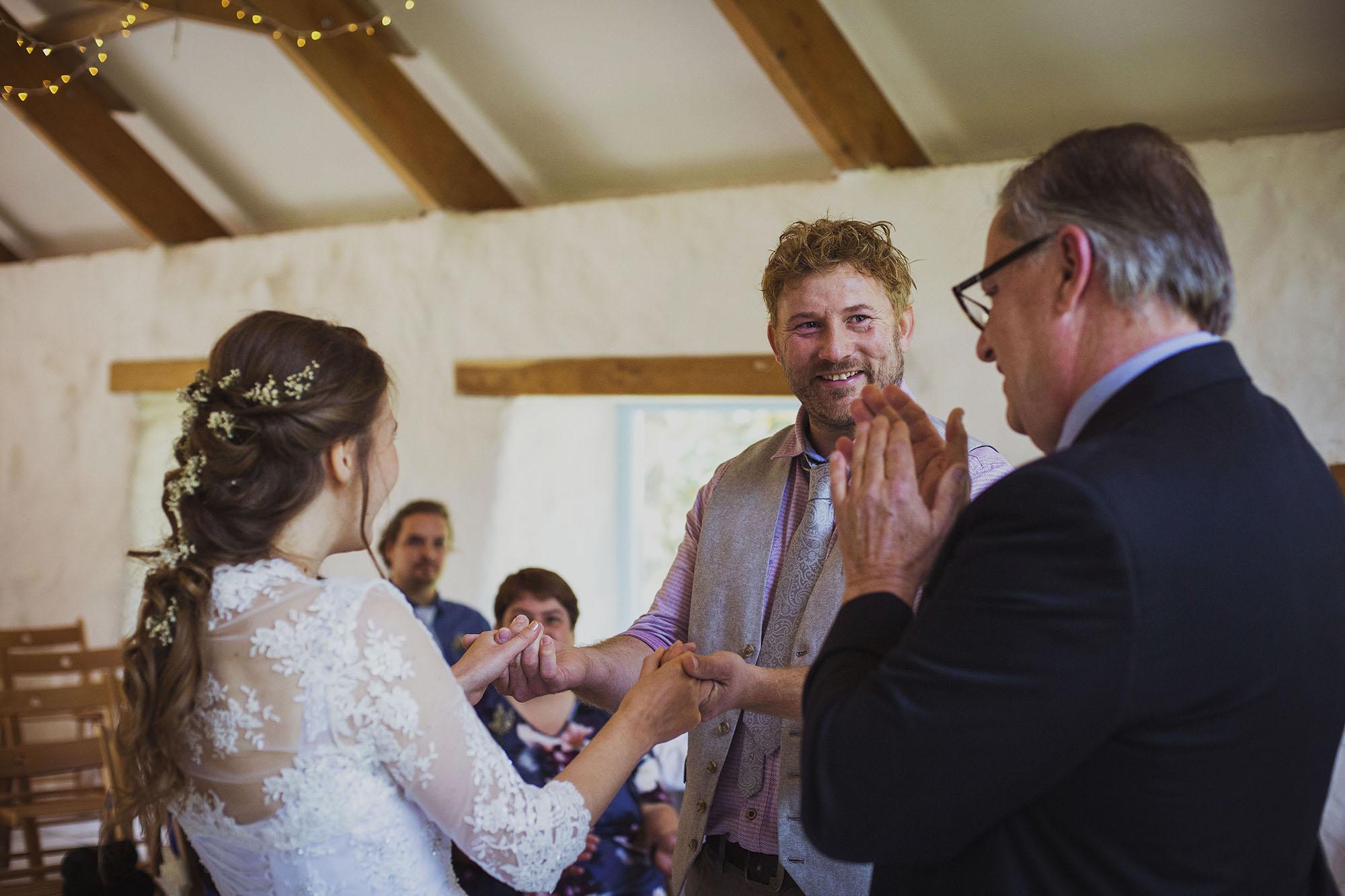 bride and groom pronounced husband and wife at nantwen wedding venue