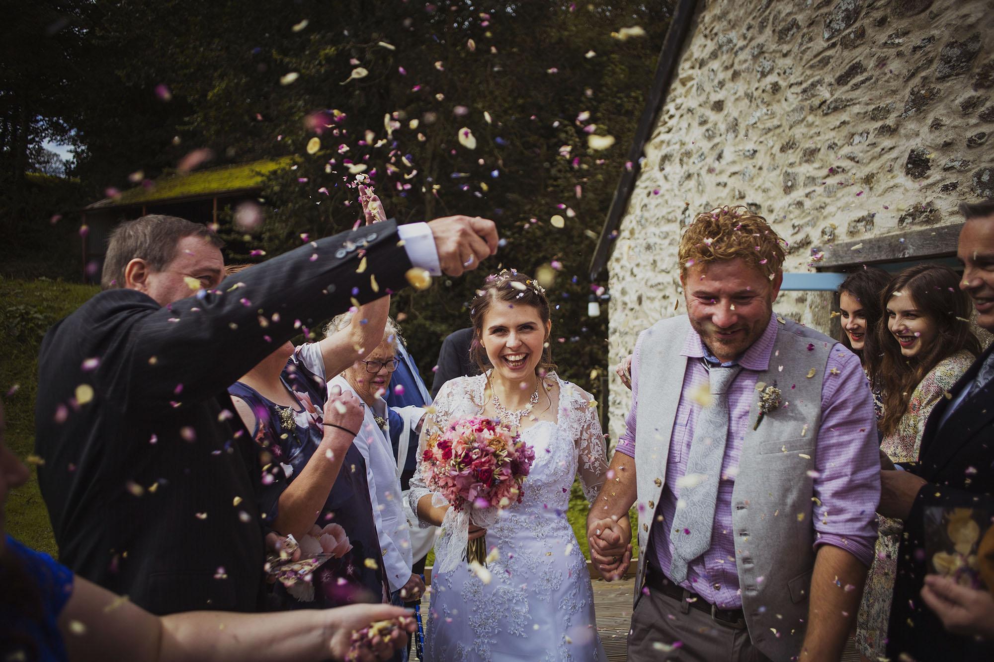 bride and groom confetti at nantwen wedding venue