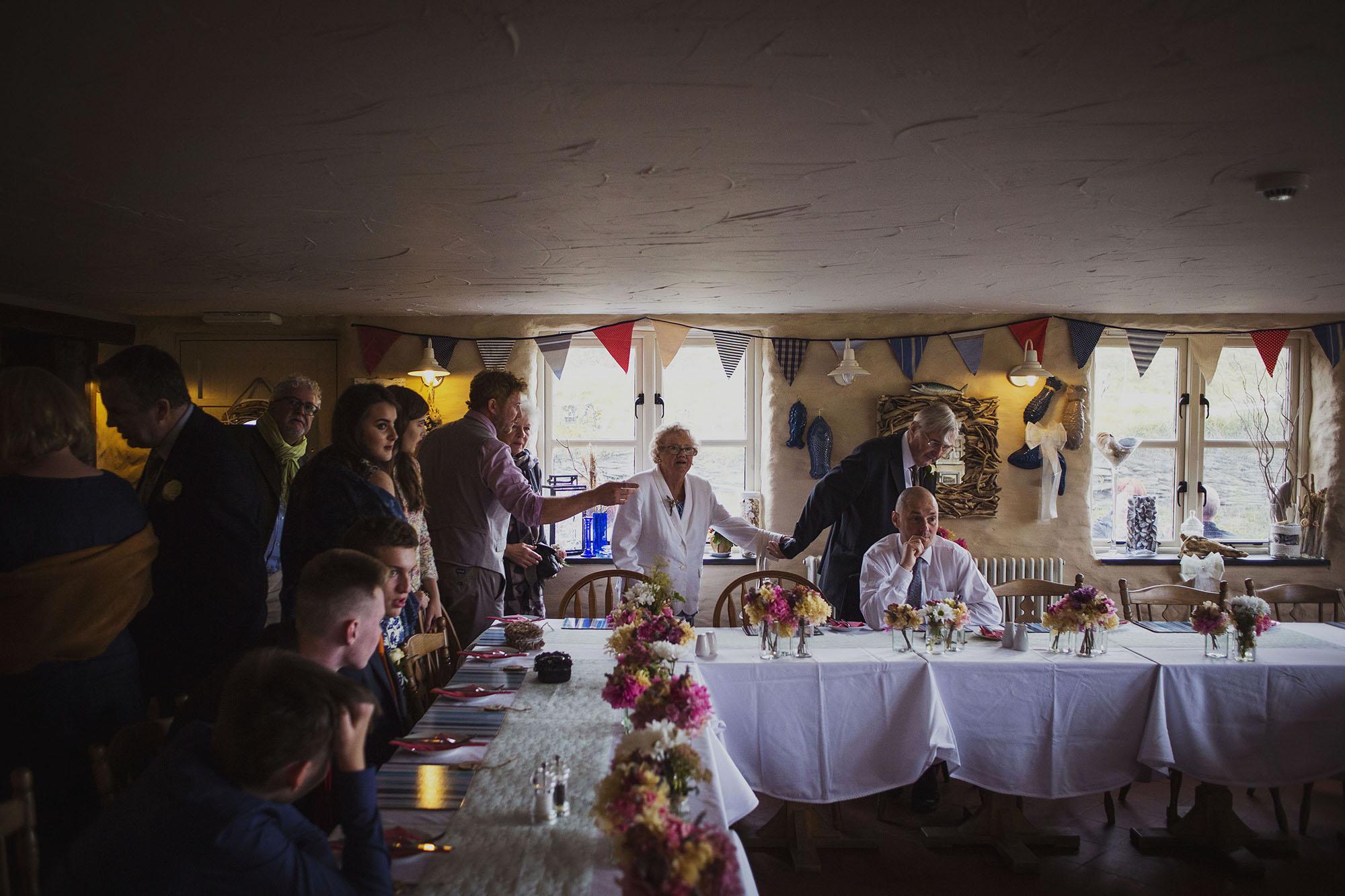 wedding dinner at the old sailors dinas cross newport pembrokeshire