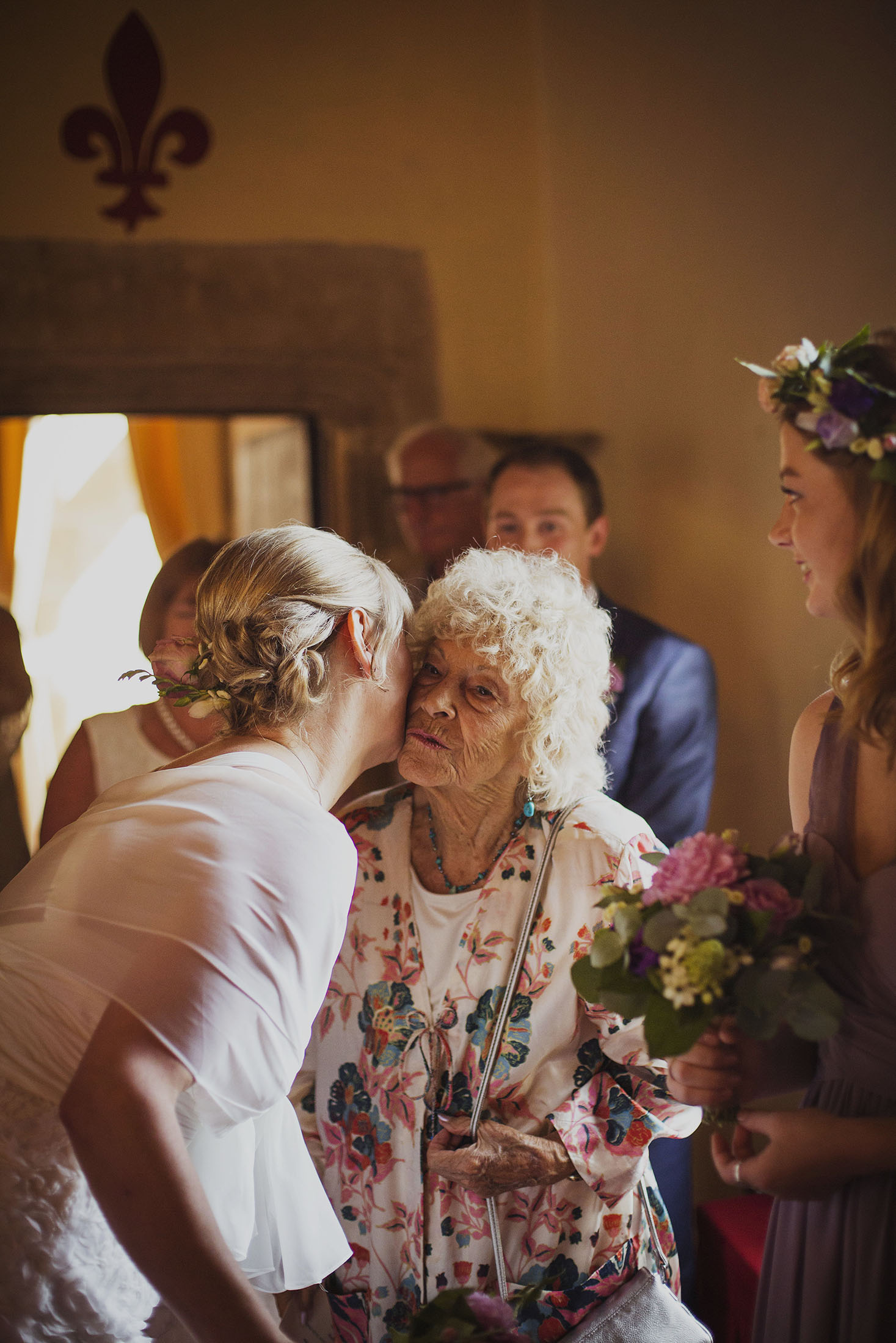 just married atwedding ceremony at chateaux des ducs de joyeuses france destination wedding photography