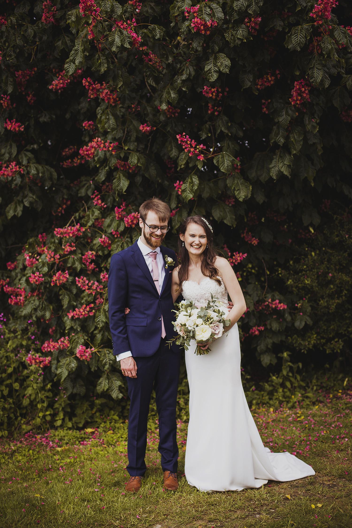 bride and groom portrait at cott farm barn wedding venue somerset