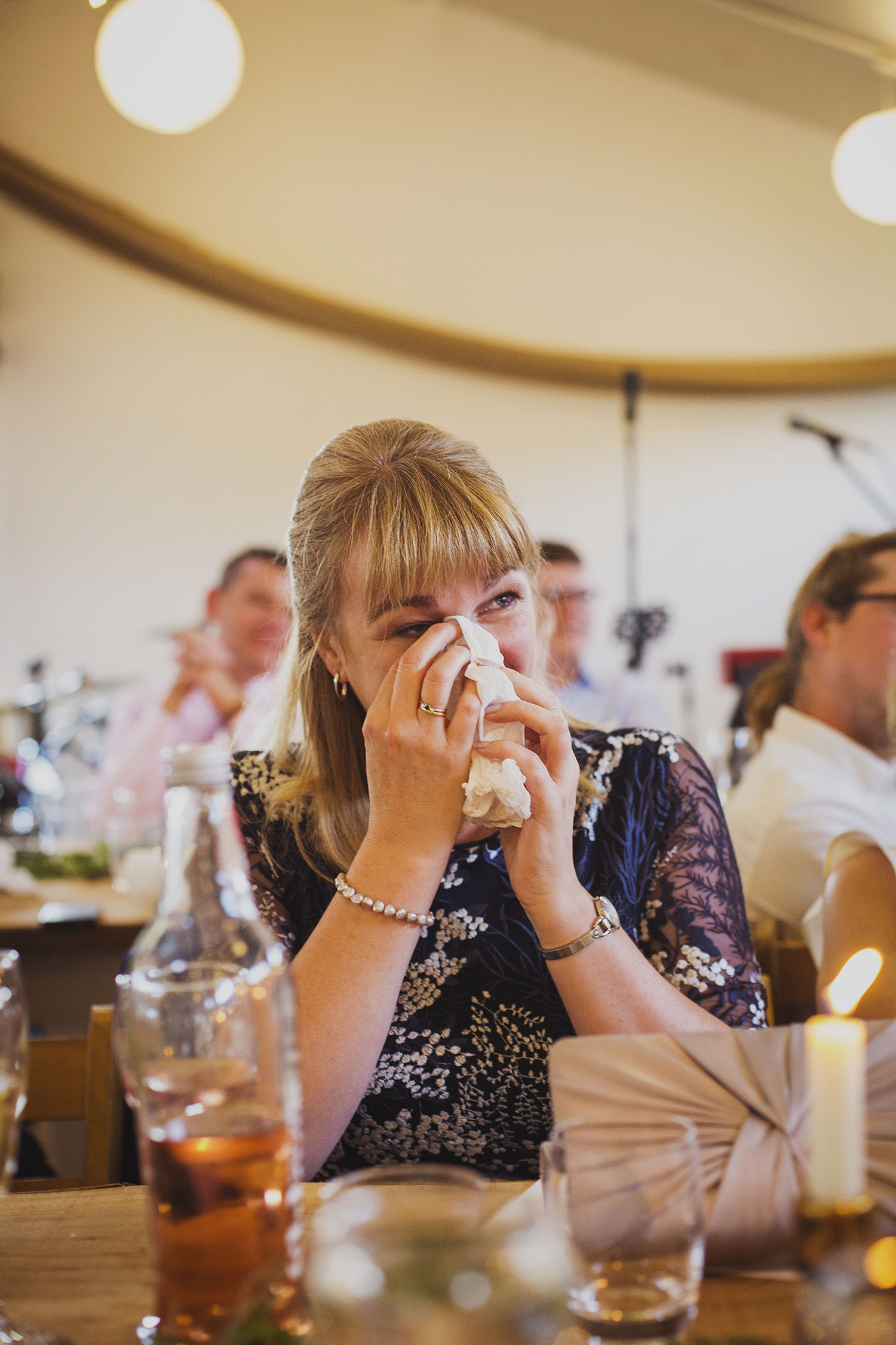 mother of the groom cring at cott farm barn wedding venue somerset