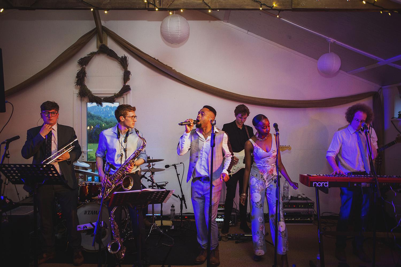 GraceNote wedding band at cott farm barn wedding venue somerset