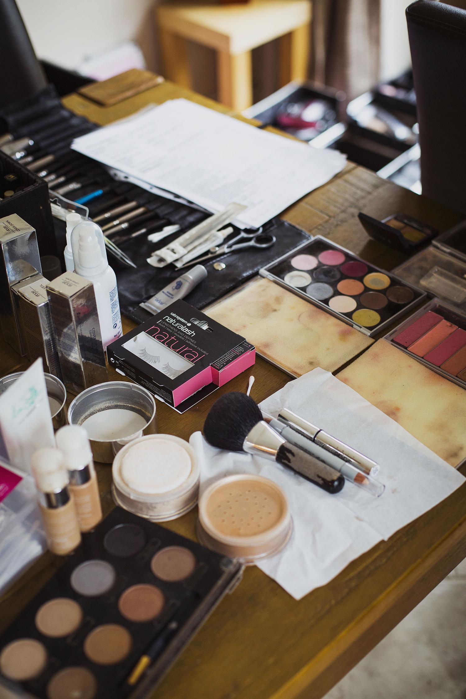 makeup at bridal prep at diy wedding