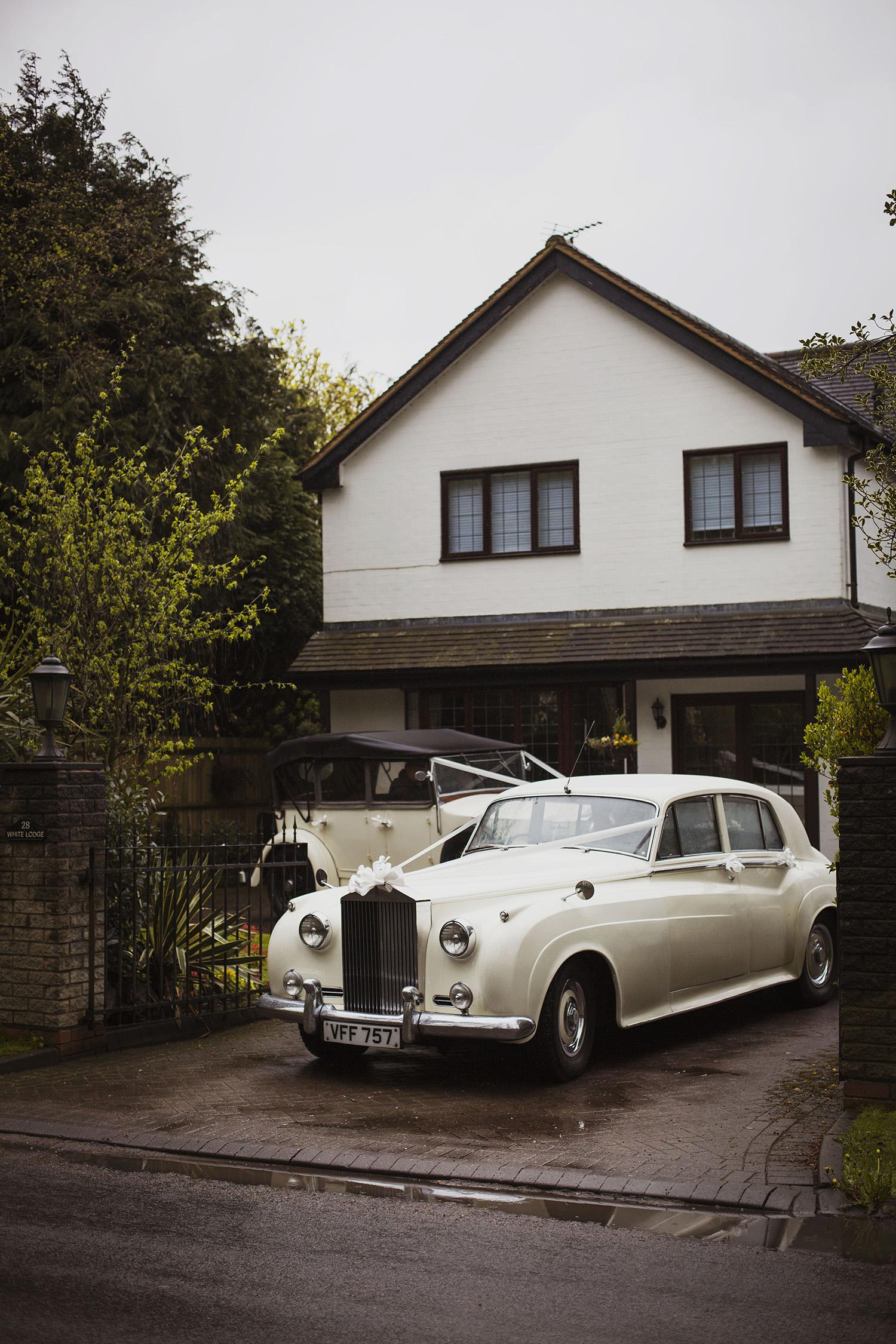 wedding car at diy wedding in midlands
