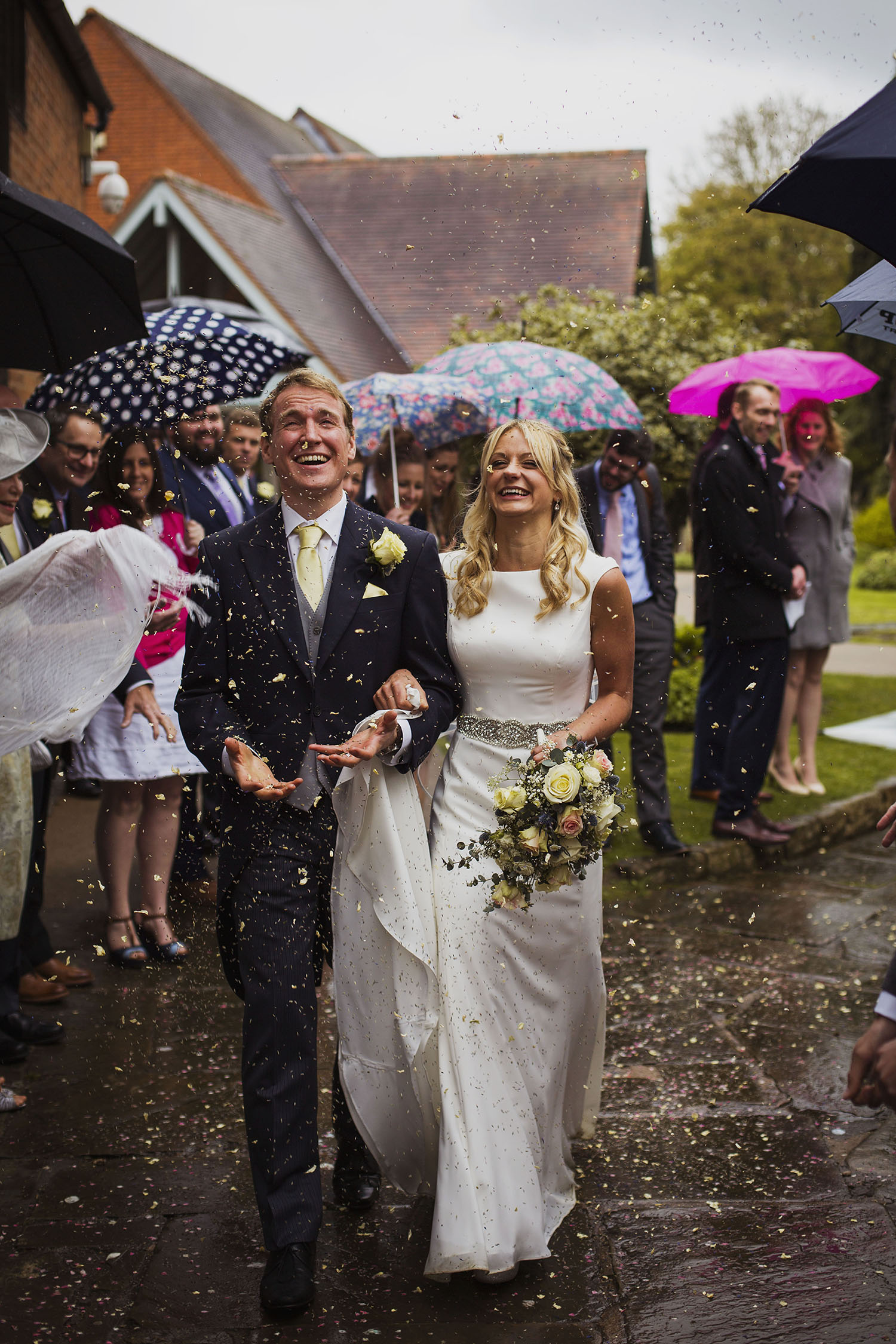 confetti at diy wedding knowle parish church