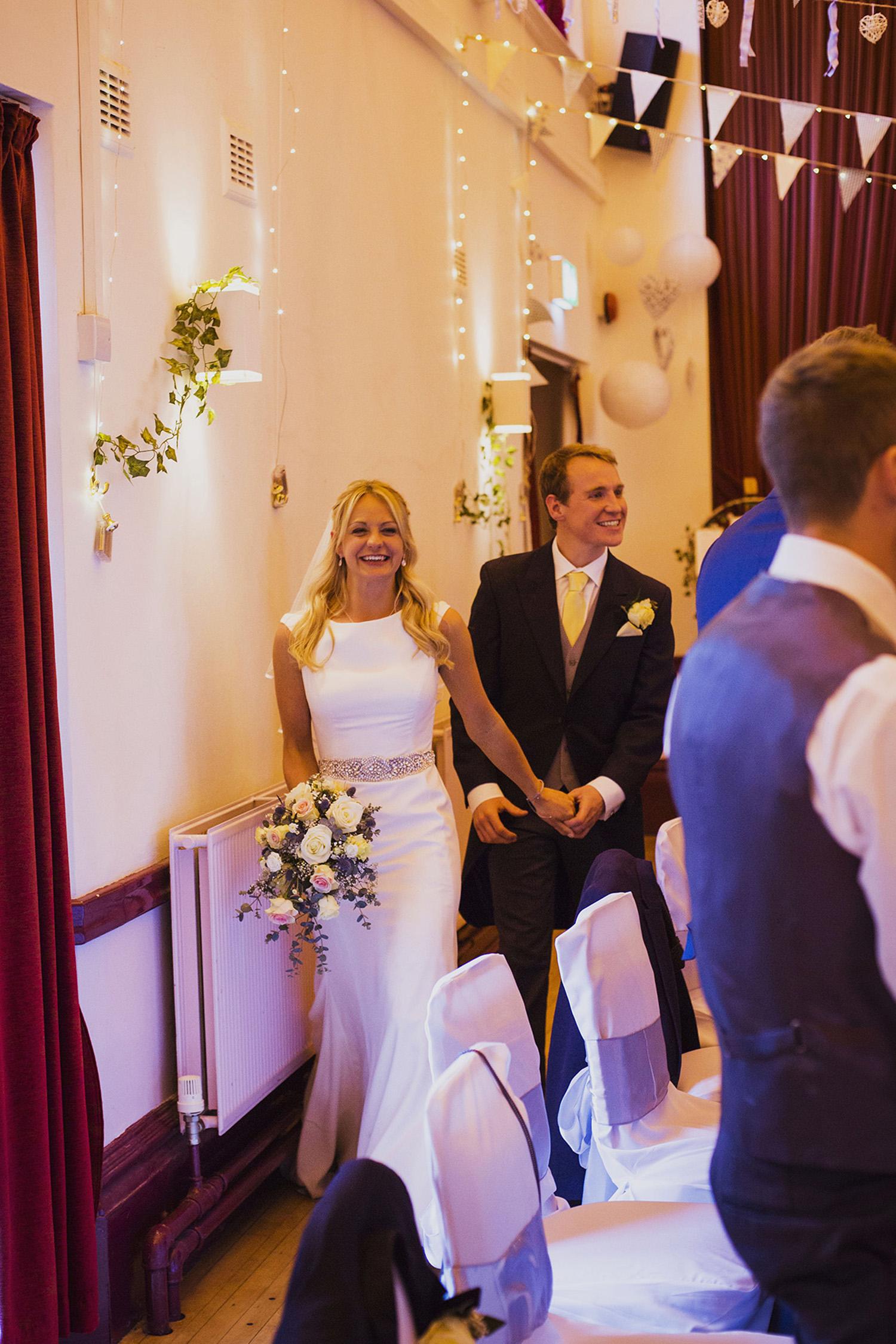 bride and groom entrance at wedding breakfast at fentham hall diy wedding photography