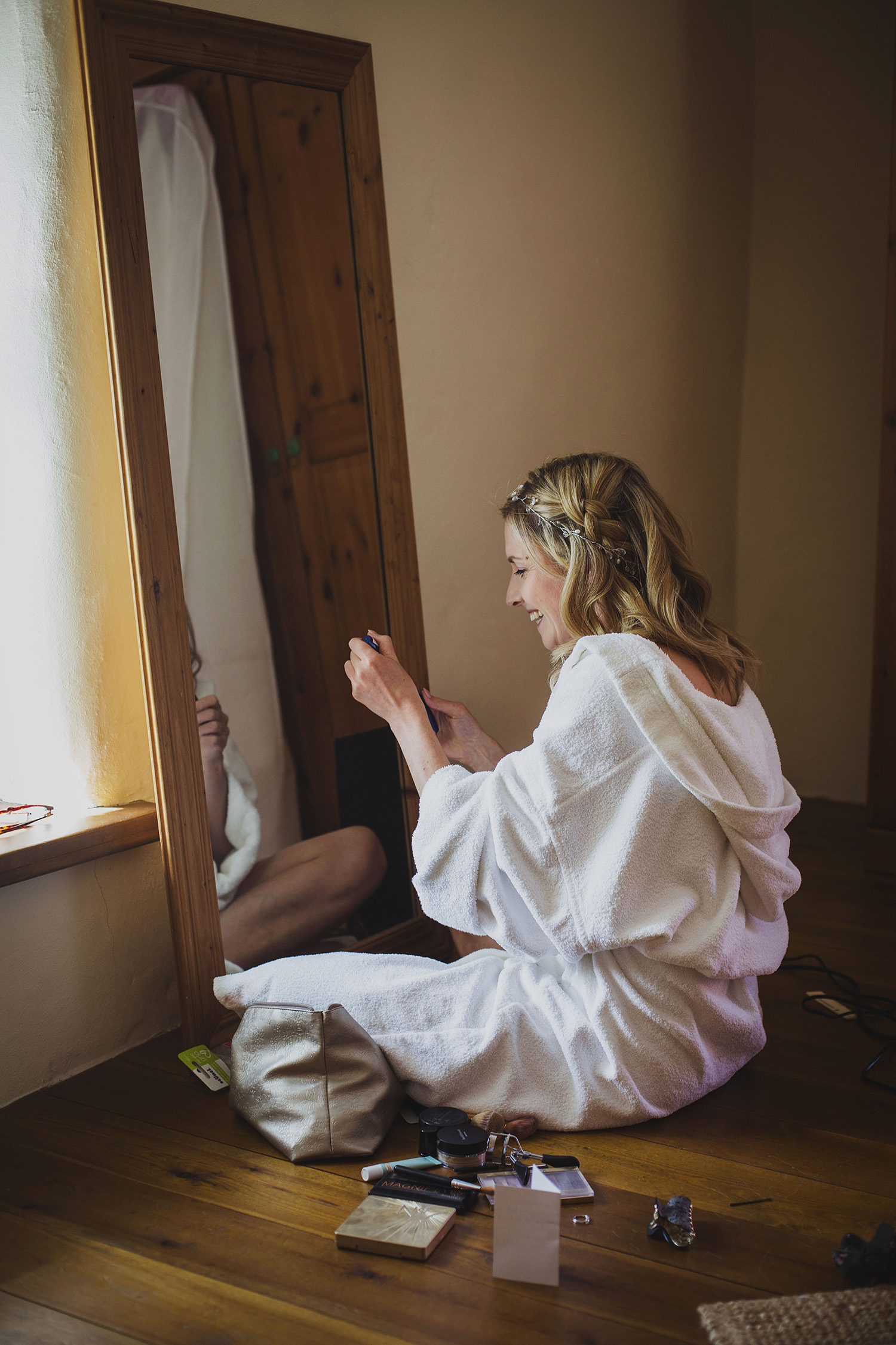 bride getting ready at nantwen