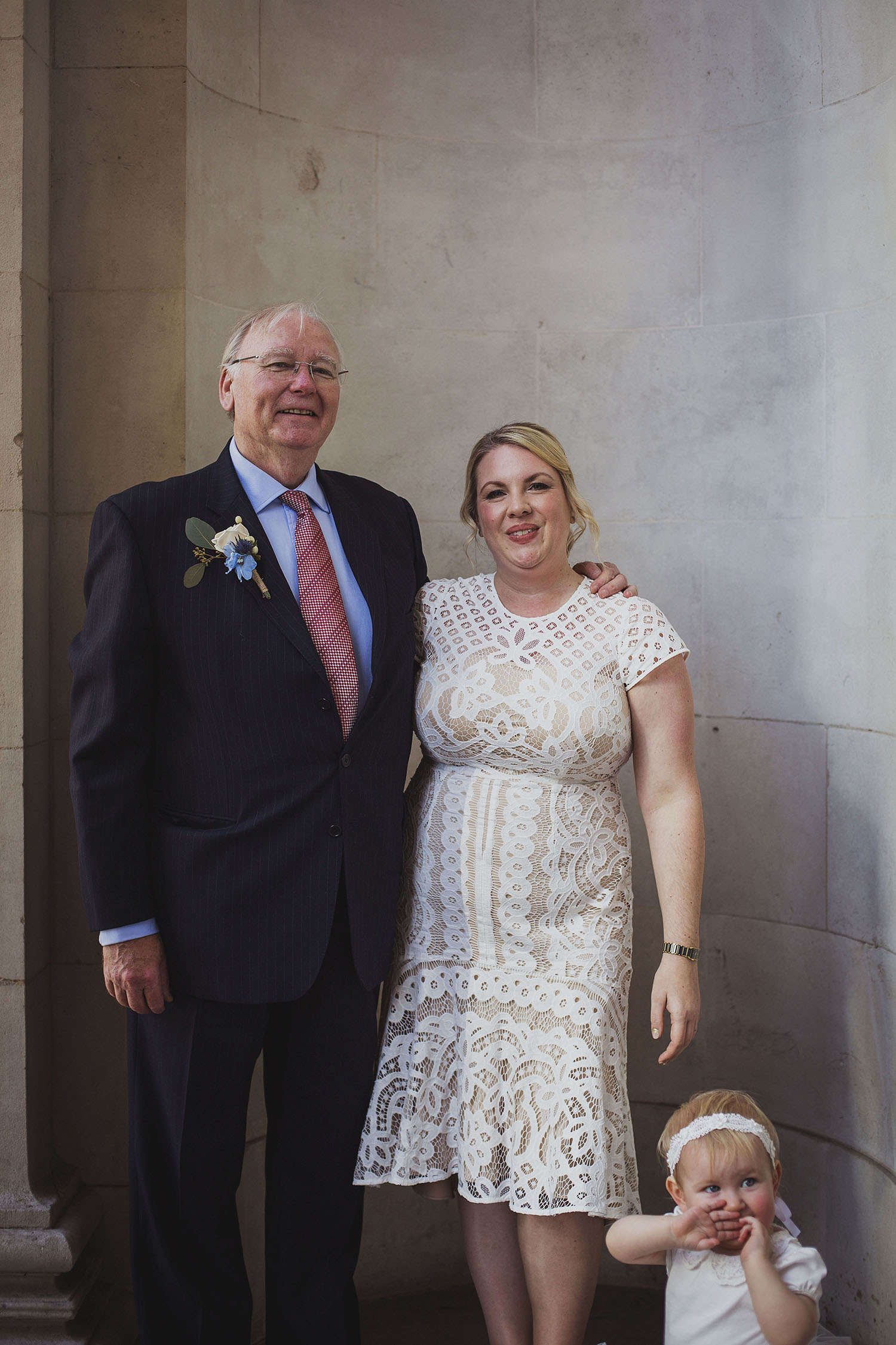 bride with father the old marylebone town hall wedding photographer