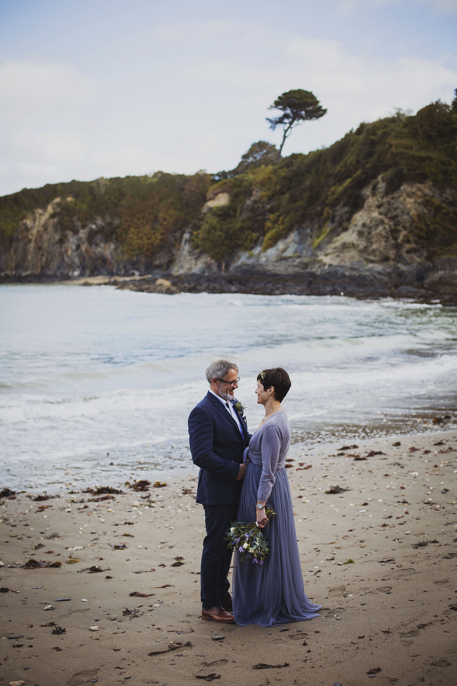 bride and groom at beach nantwen wedding photographer pembrokeshire wedding photography