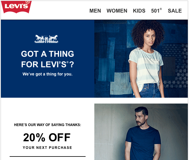 Levi's re-engagement email