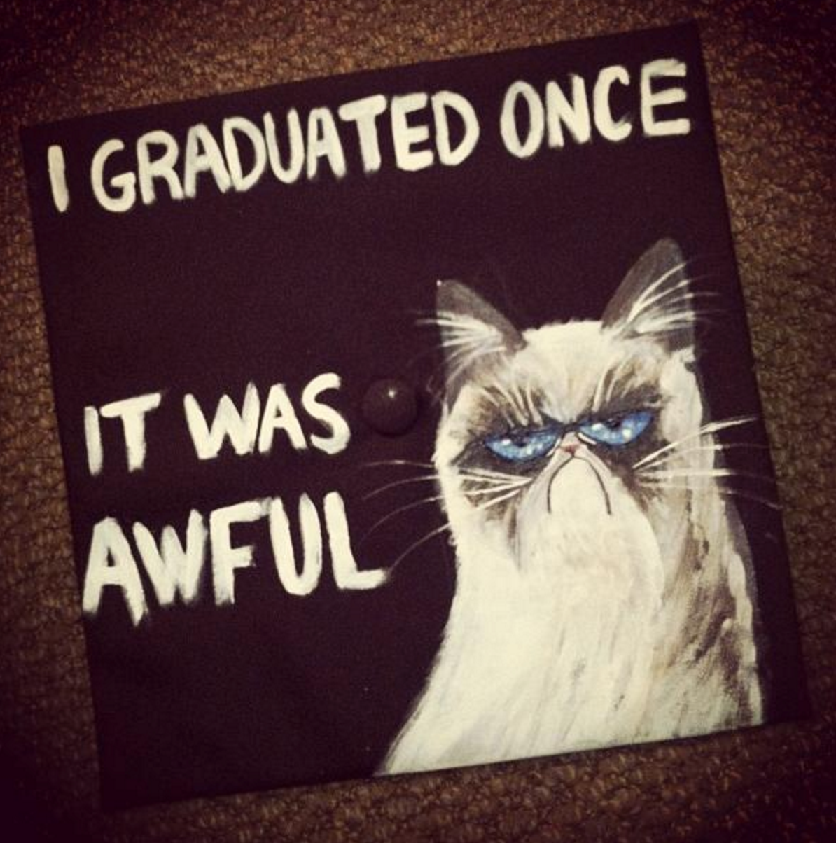 "Grumpy Cat graduation cap: ""I graduated once. It was awful."""