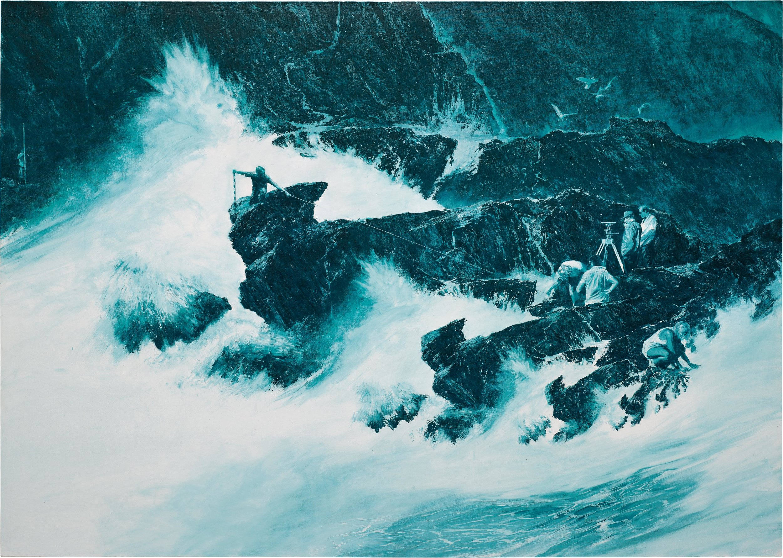 """Mark Tansey, """" Coastline Measure ,""""1987,oil on canvas,87 x 122 in.   Click to enlarge ."""