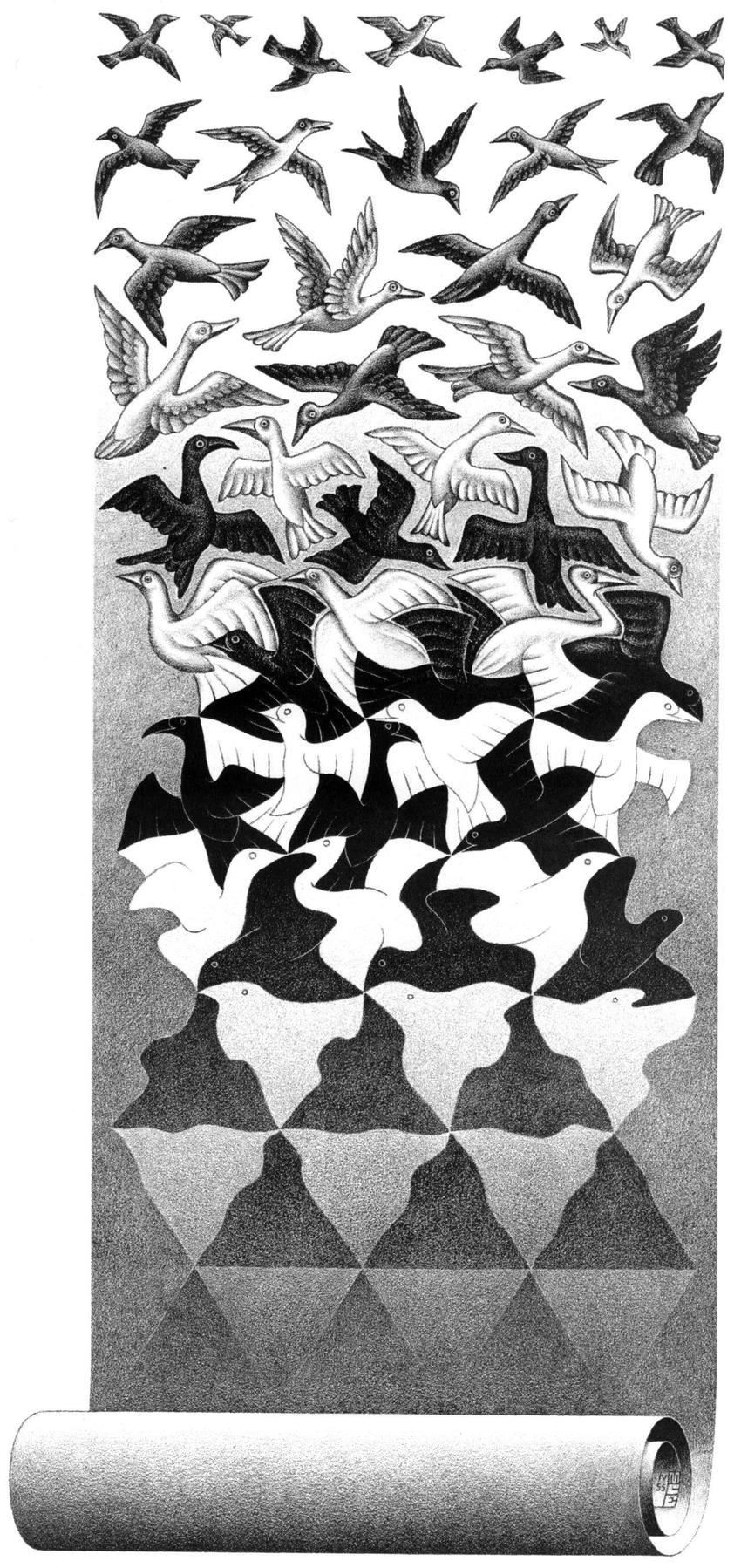 M.C. Escher,  Liberation , 1955, Lithograph
