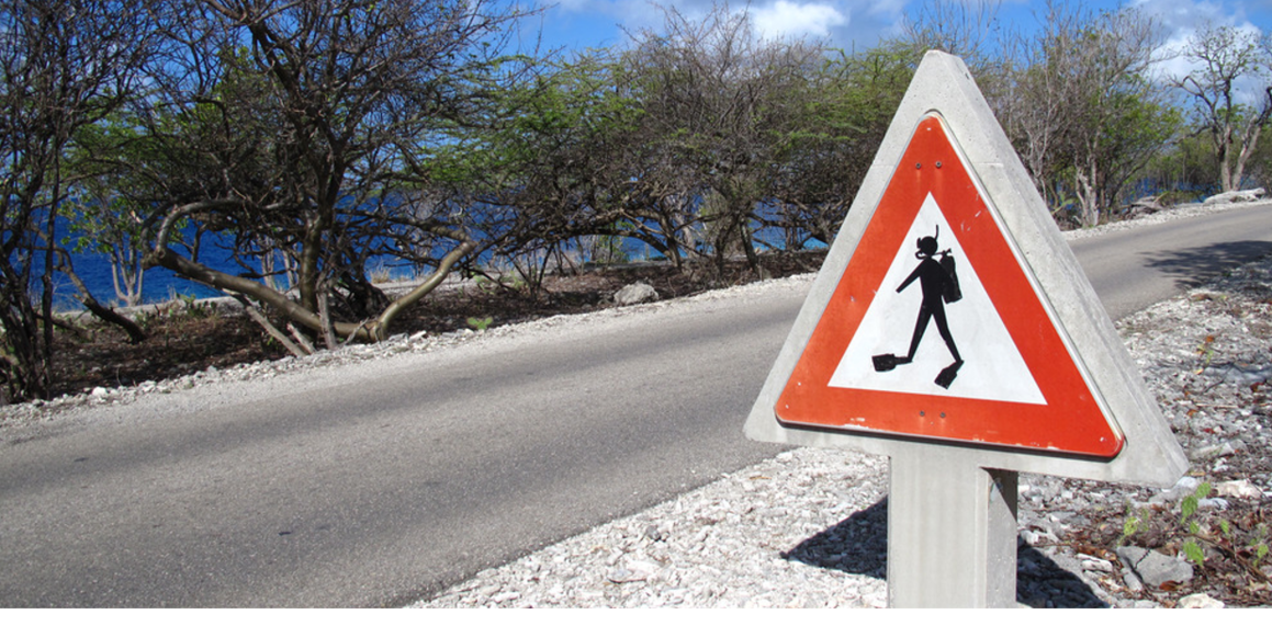 """There are many """"signs""""that remind divers that they are in the right place on Bonaire."""