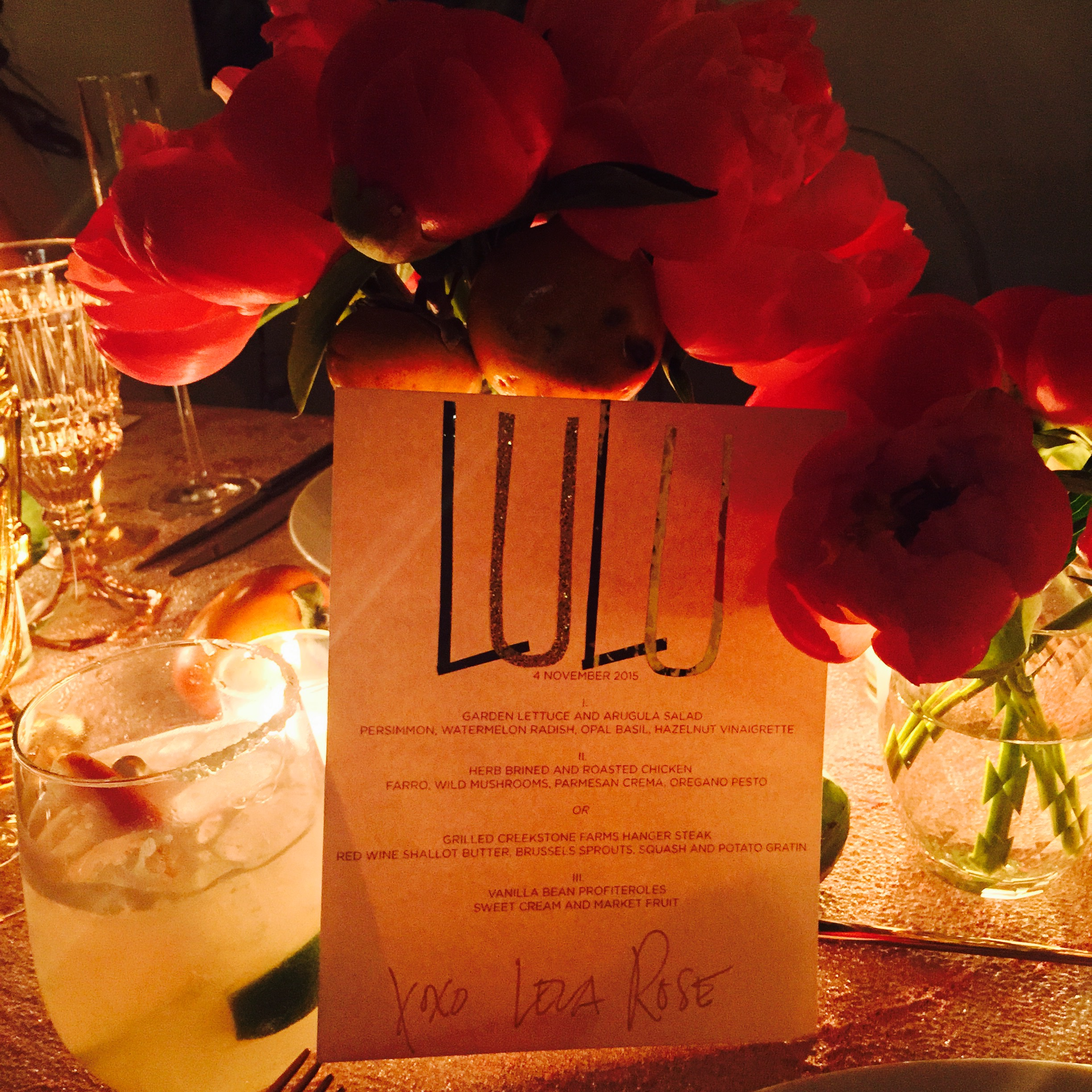 Lela customized our menus with our names at the top - what a great idea! Adding a personal touch to your tablescape adds another layer of thoughtfulness that your guests will appreciate (I know I did)!
