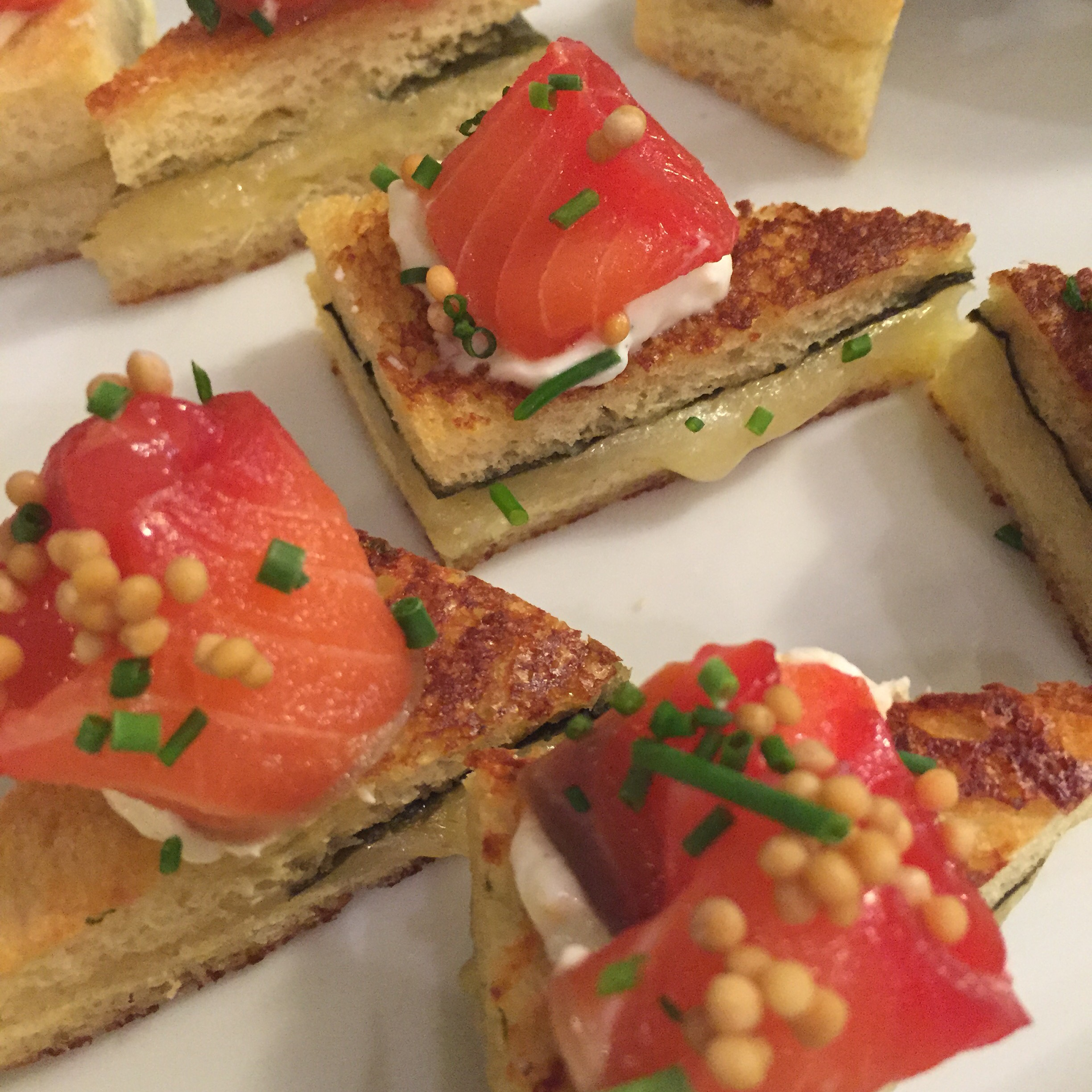 Beet-Cured Salmon on Grilled Cheese