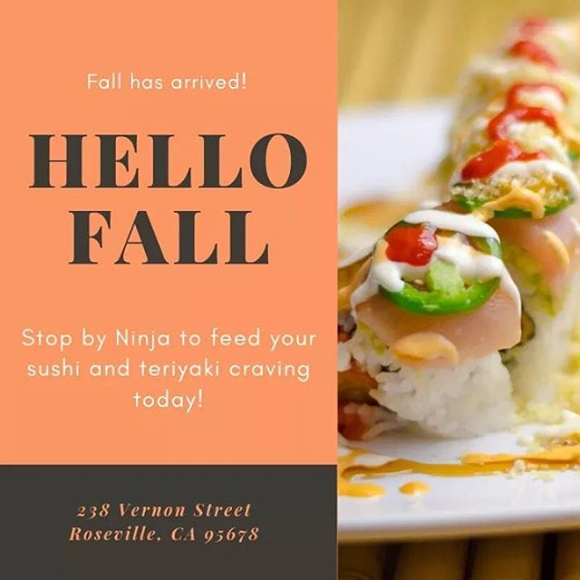 Although the seasons change, it's always the season for sushi! Come by today! #downtownroseville #ninjaroseville #sushi #sushitime