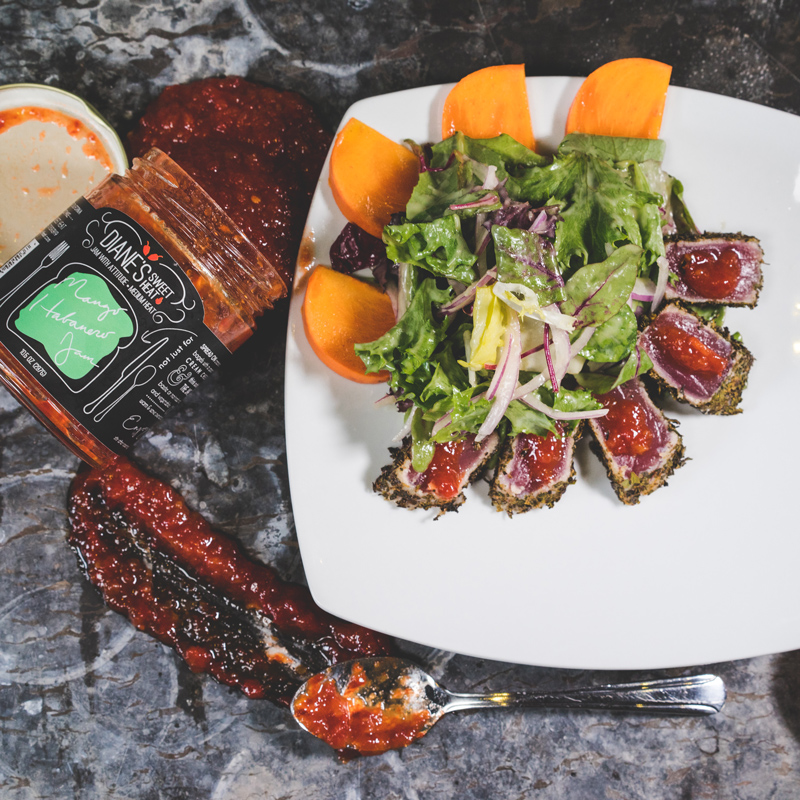 Seared Tuna   Persimmon   Mango-Habanero   Mixed Greens